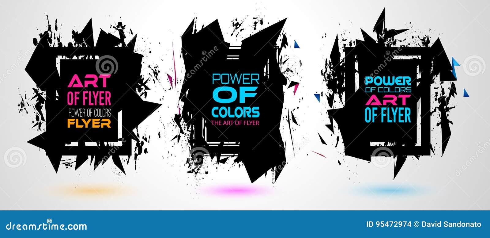 Futurystyczny Ramowy sztuka projekt z abstraktem kształtuje i opuszcza kolory za przestrzenią