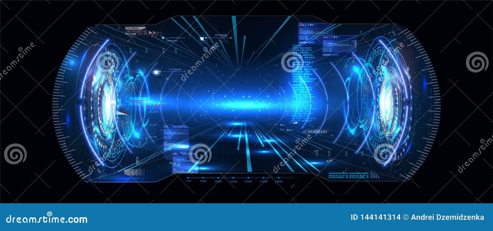 Futurystyczny wektor VR W górę pokazu HUD UI GUI interfejsu Parawanowego projekta Rzeczywistość wirtualna Cyfrowego interfejs uży