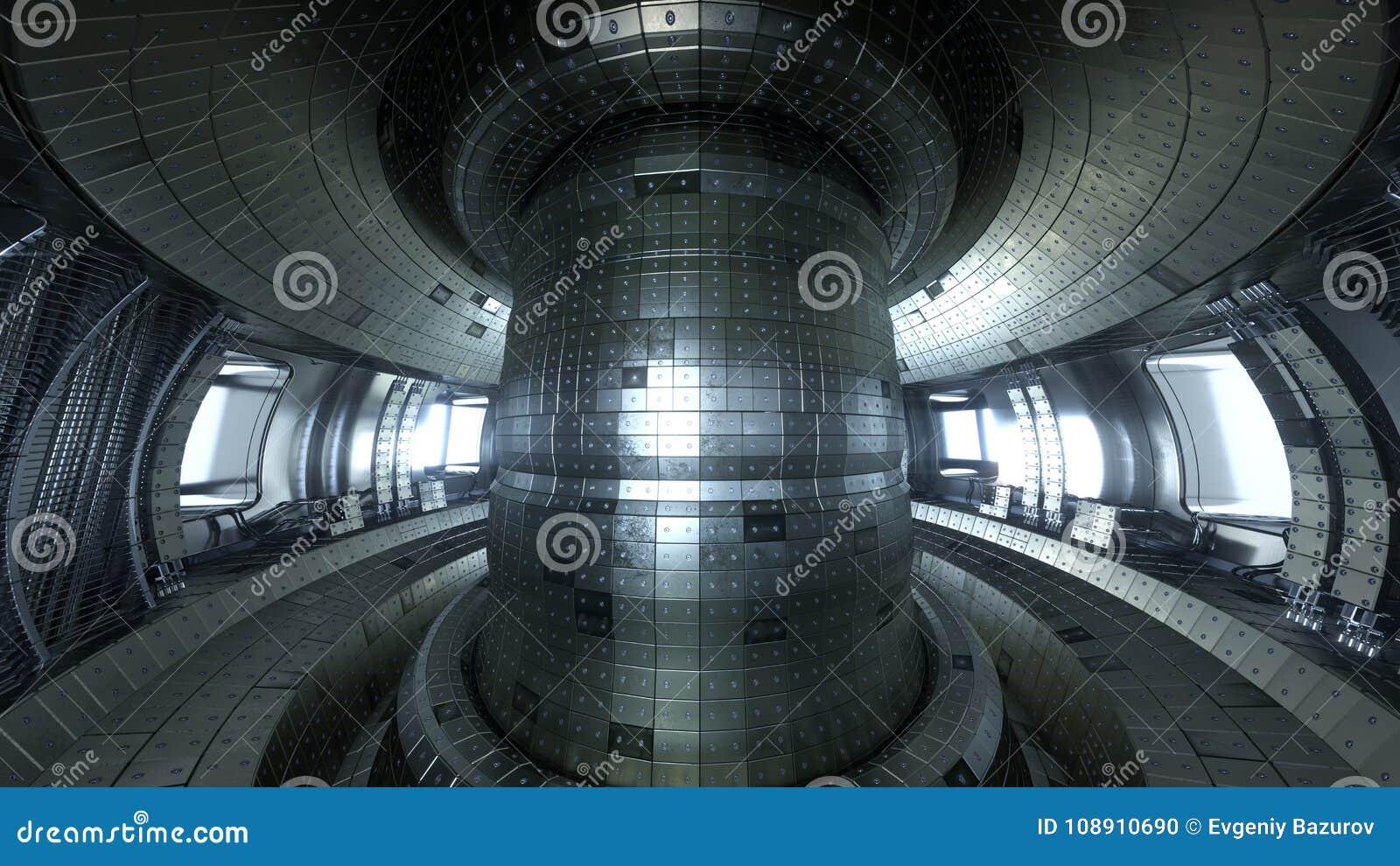 Fuzja reaktoru Tokamak Reakci sala Fuzi władza 3d illus