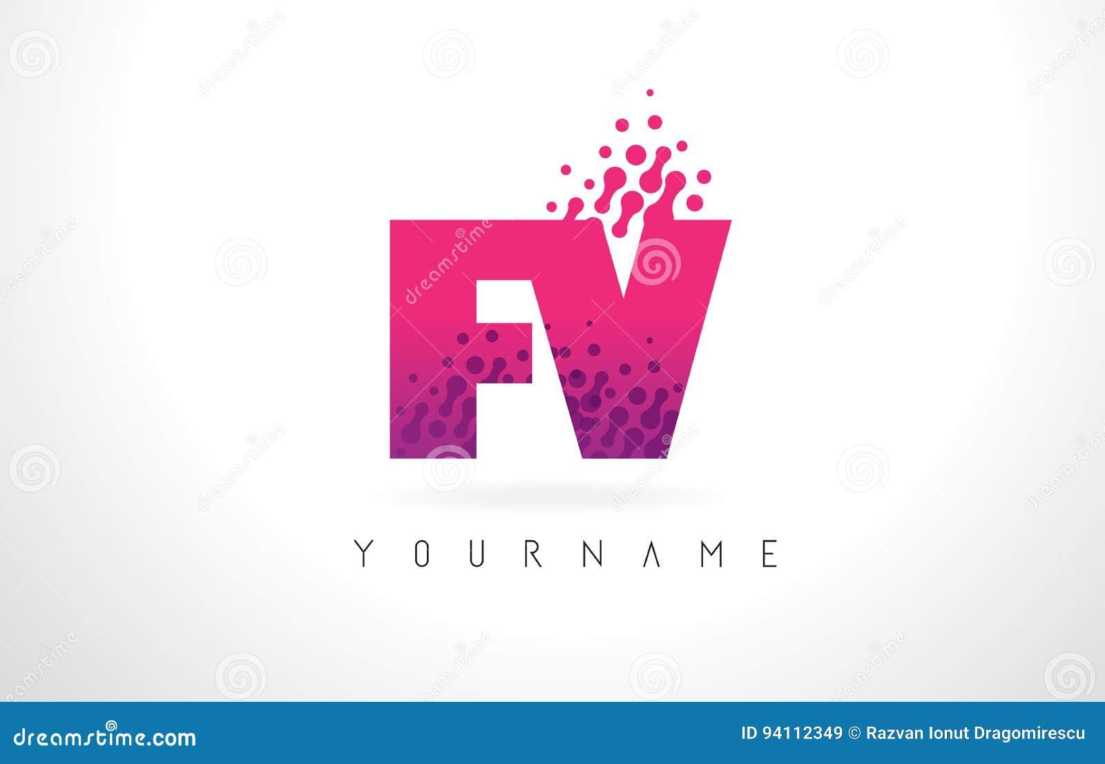 FV F V Letter Logo With Pink Purple Color And Particles Dots Des ...