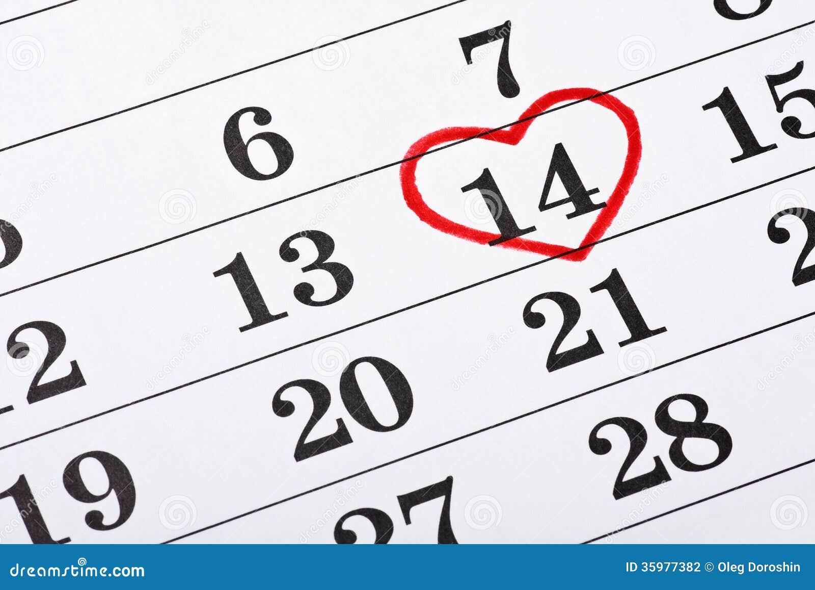 14 f vrier sur le calendrier coeur rouge de saint valentin encercl photographie stock image. Black Bedroom Furniture Sets. Home Design Ideas