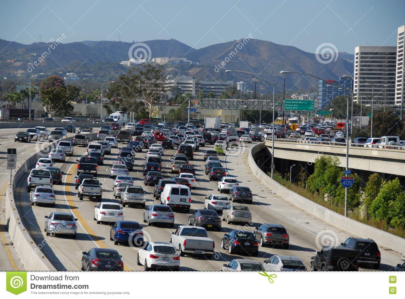 405 Fwy Traffic Los Angeles Editorial Stock Photo - Image of