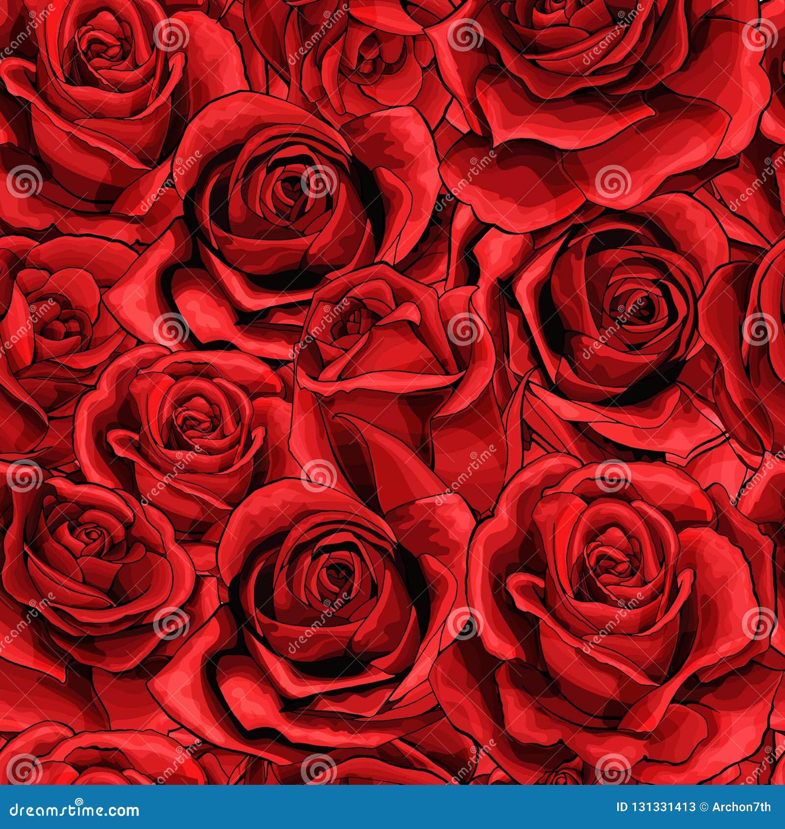 Fyllde den sömlösa modellen för röda rosa blommabukettbeståndsdelar mycket