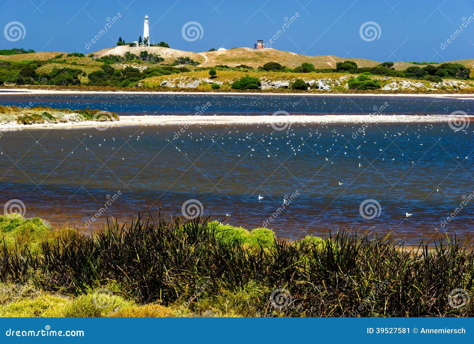 Fyr för salt sjö för Rottnest ö