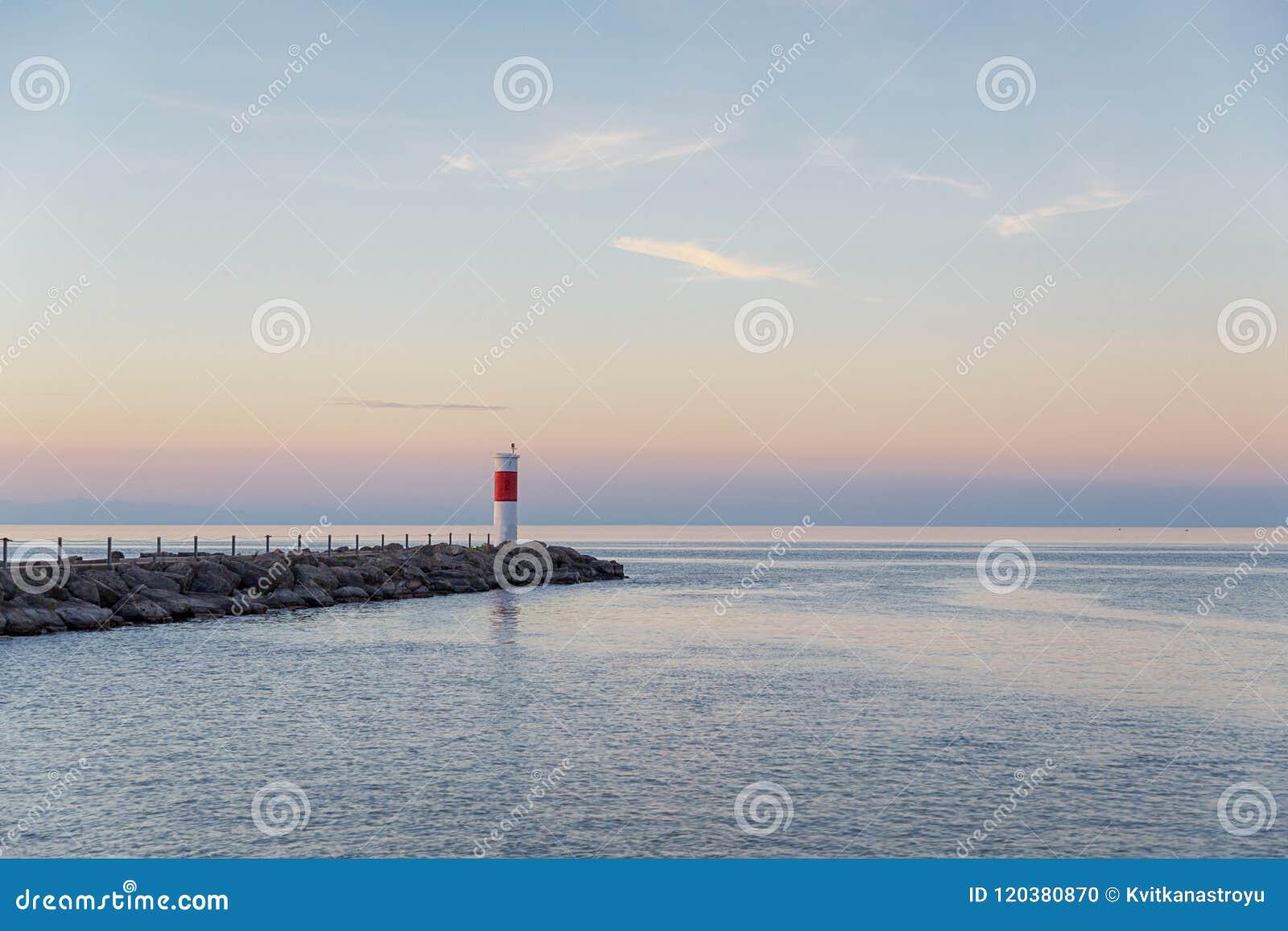 Fyr på Laket Ontario Rochester USA Solnedgång