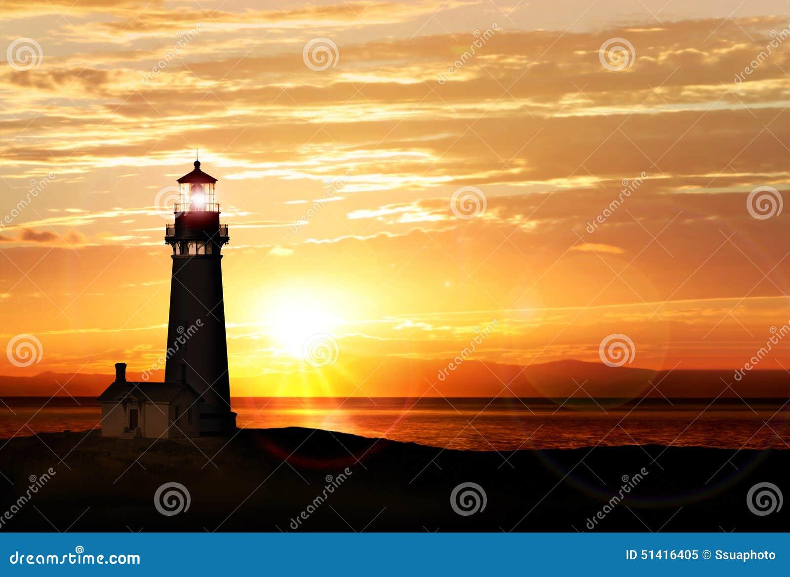 Fyr på solnedgången
