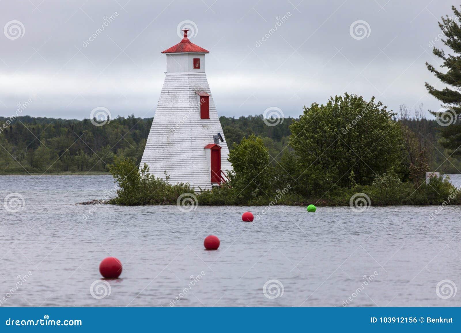 Fyr vid Lake Huron i Ontario