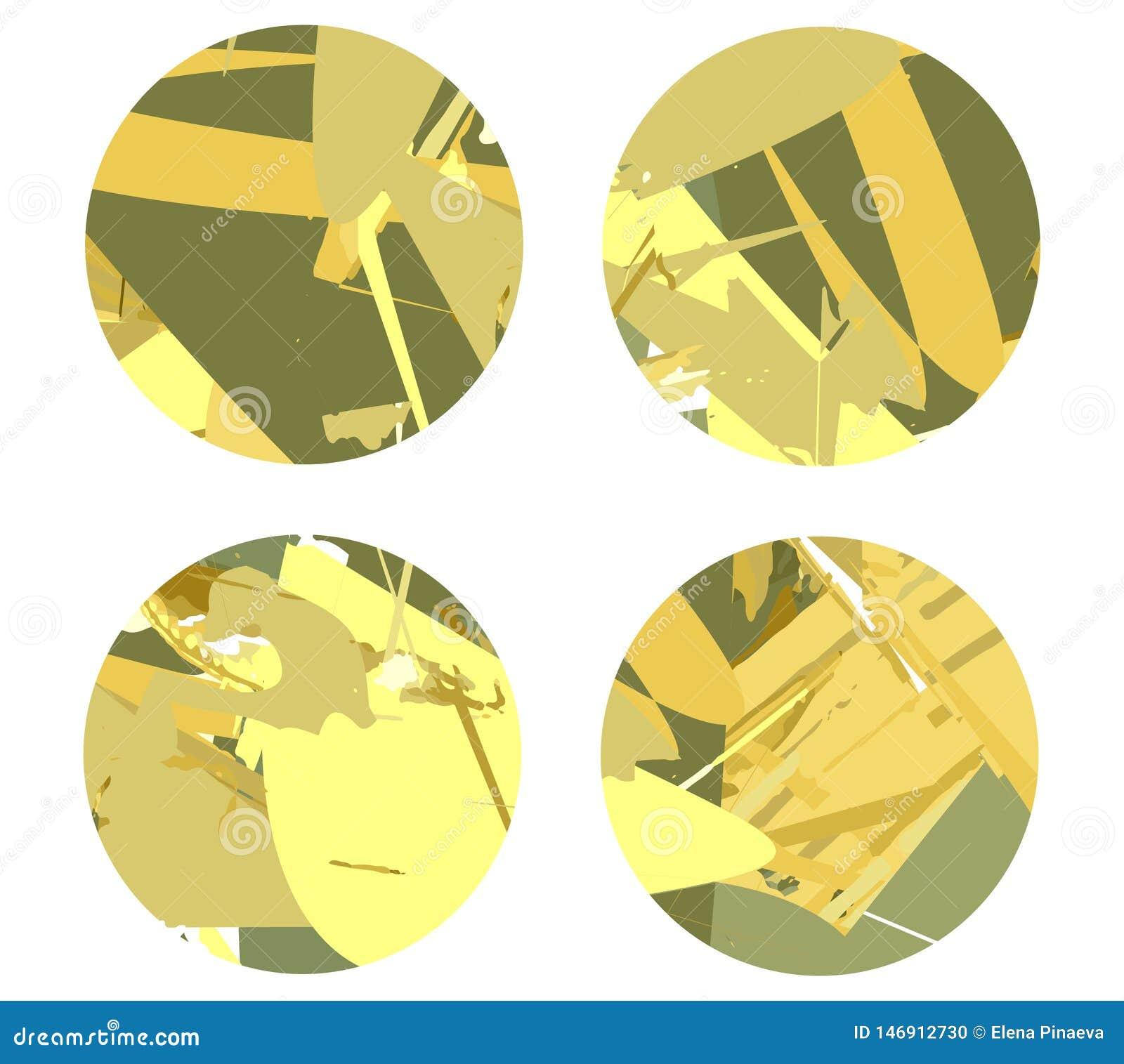Fyra cirklar på en ljus bakgrund med abstrakta linjer