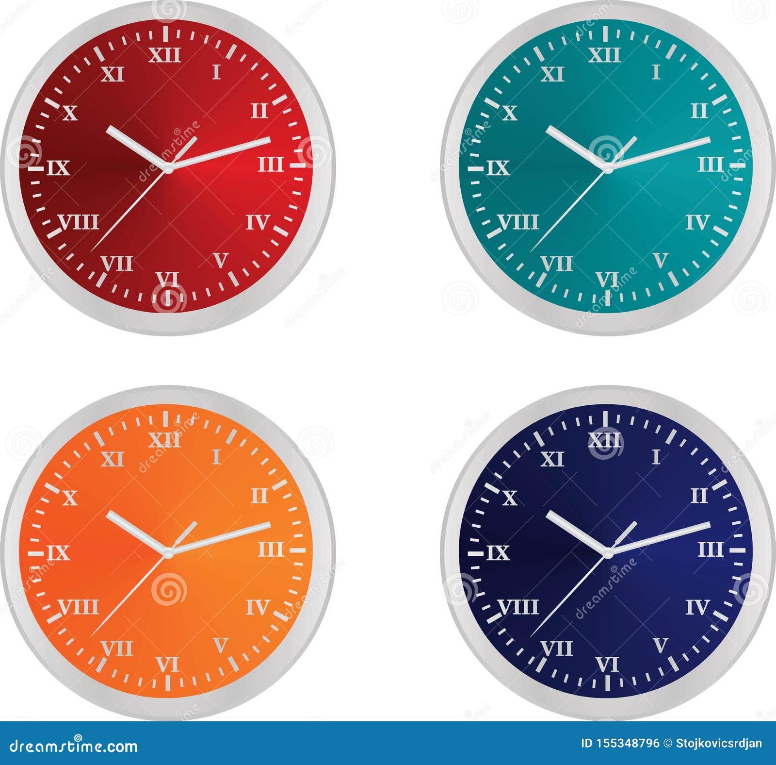 Fyra färgrika klockor