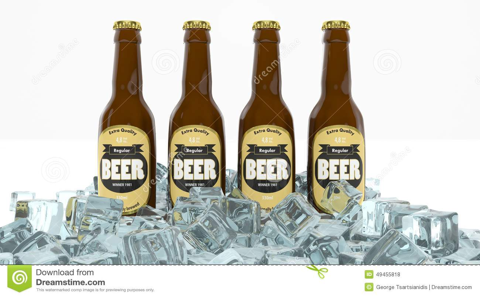 Fyra glasflaskor av öl