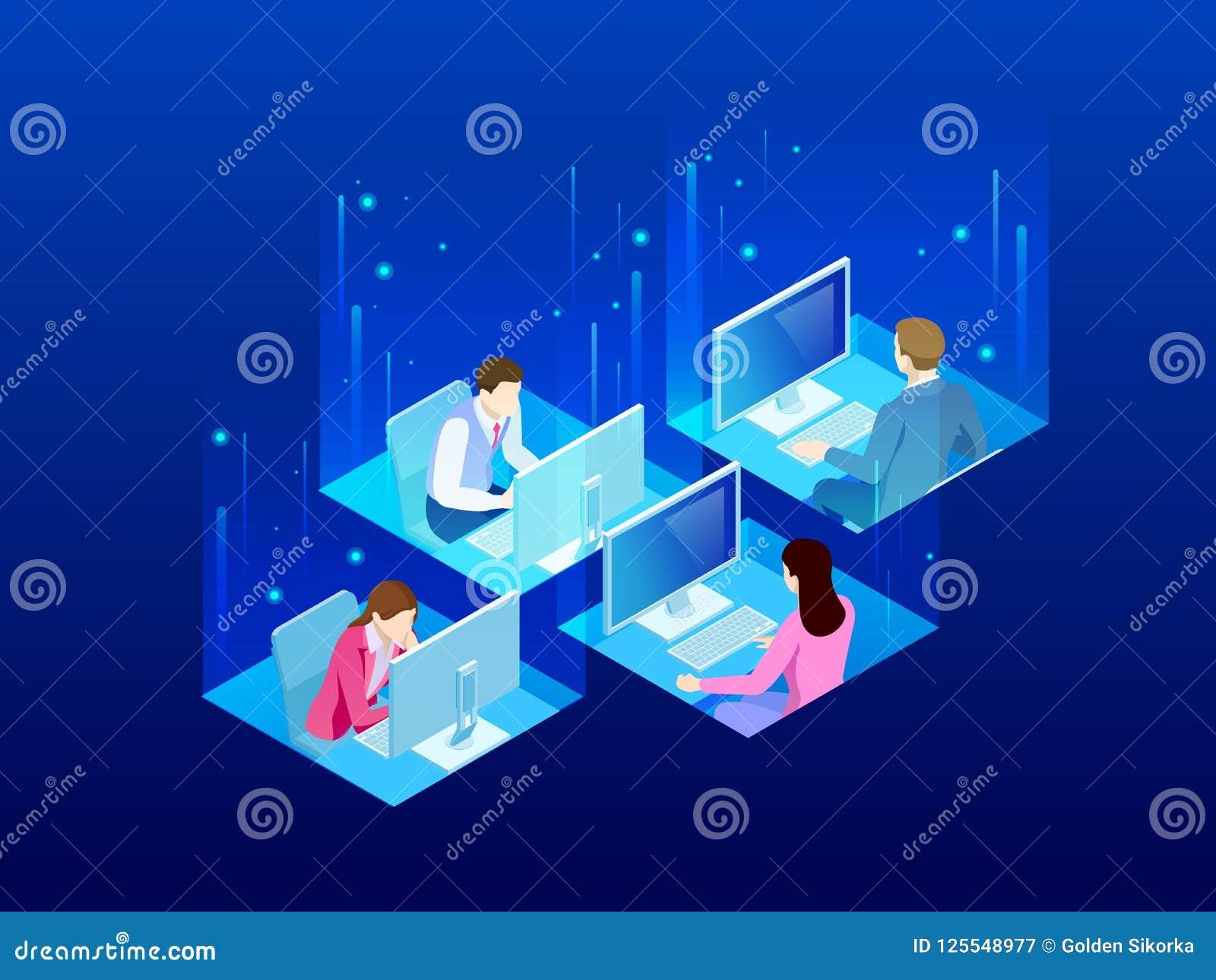 Fyra isometriska kontorsarbetare i kontoret Begrepp för affärsCo-arbete utrymme Affärskollegor som arbetar på ett upptaget