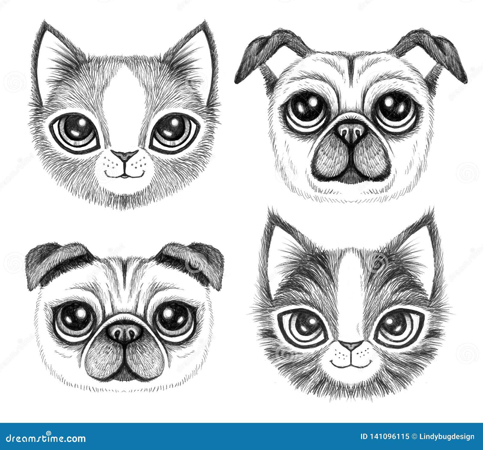 Fyra knapphändiga pennteckningar av gullig hundkapplöpning och katter