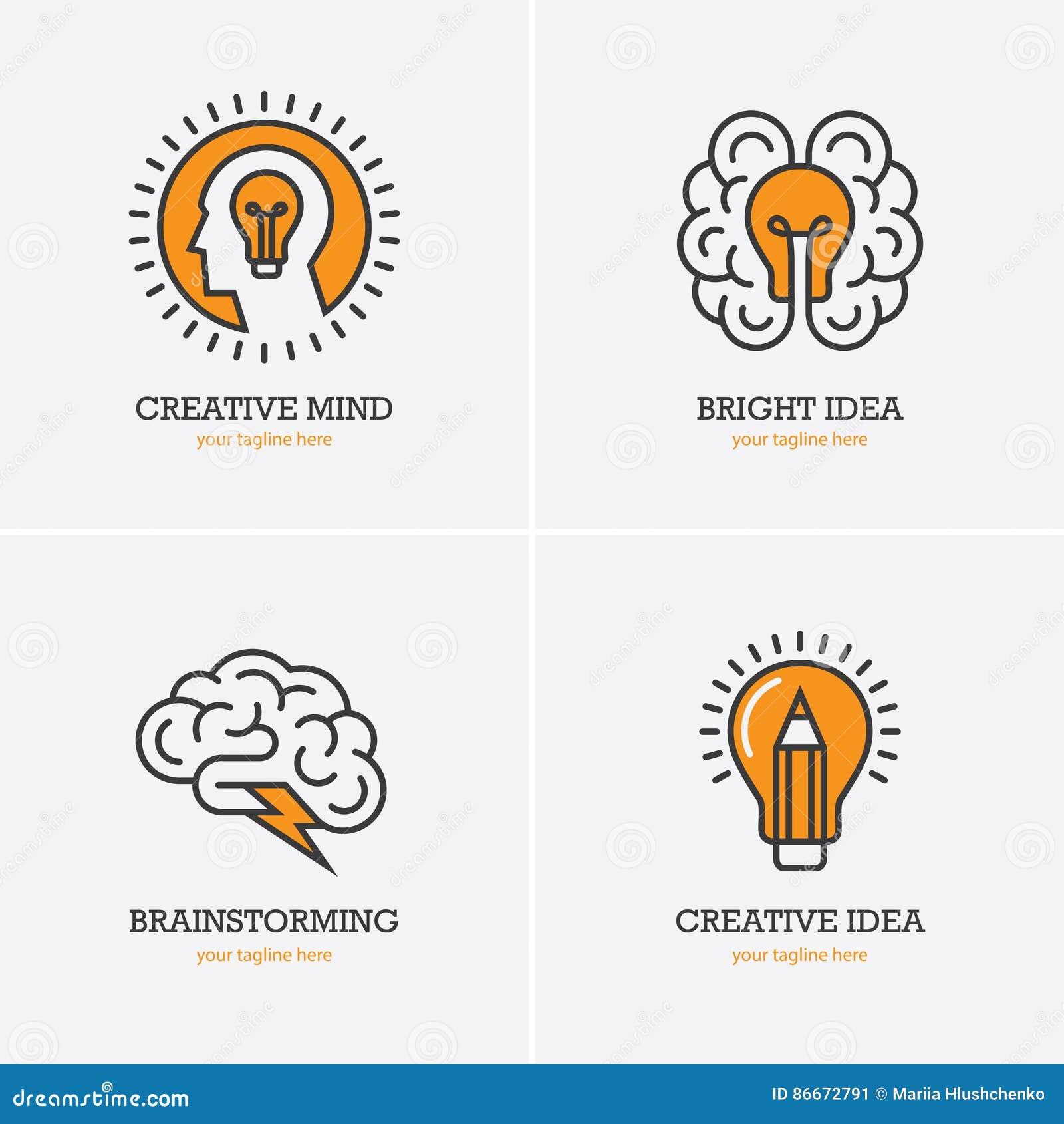 Fyra symboler med det mänskliga huvudet, hjärnan och den ljusa kulan