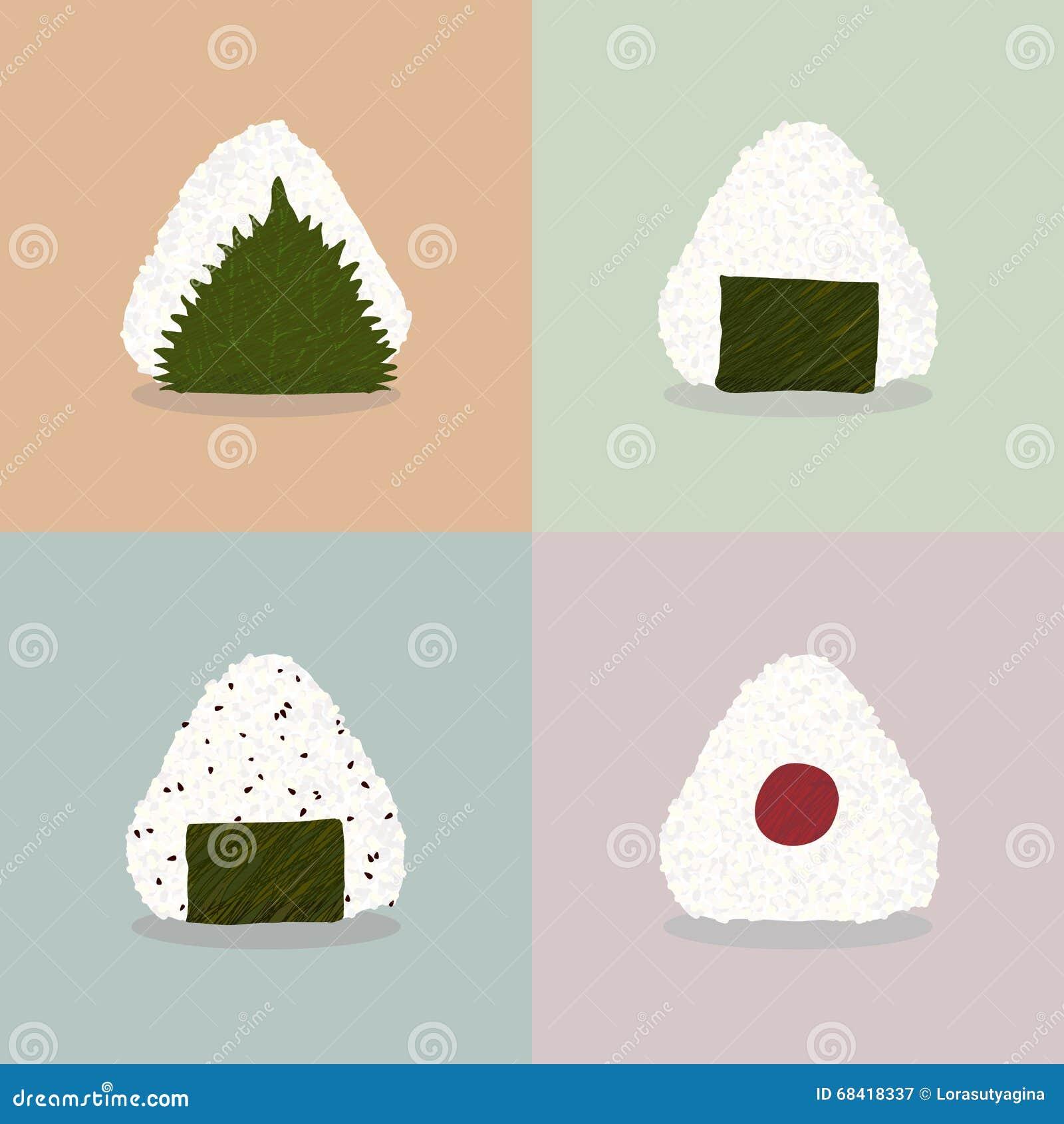 Fyra typer av onigirien Kokkonst för japan för risbollar