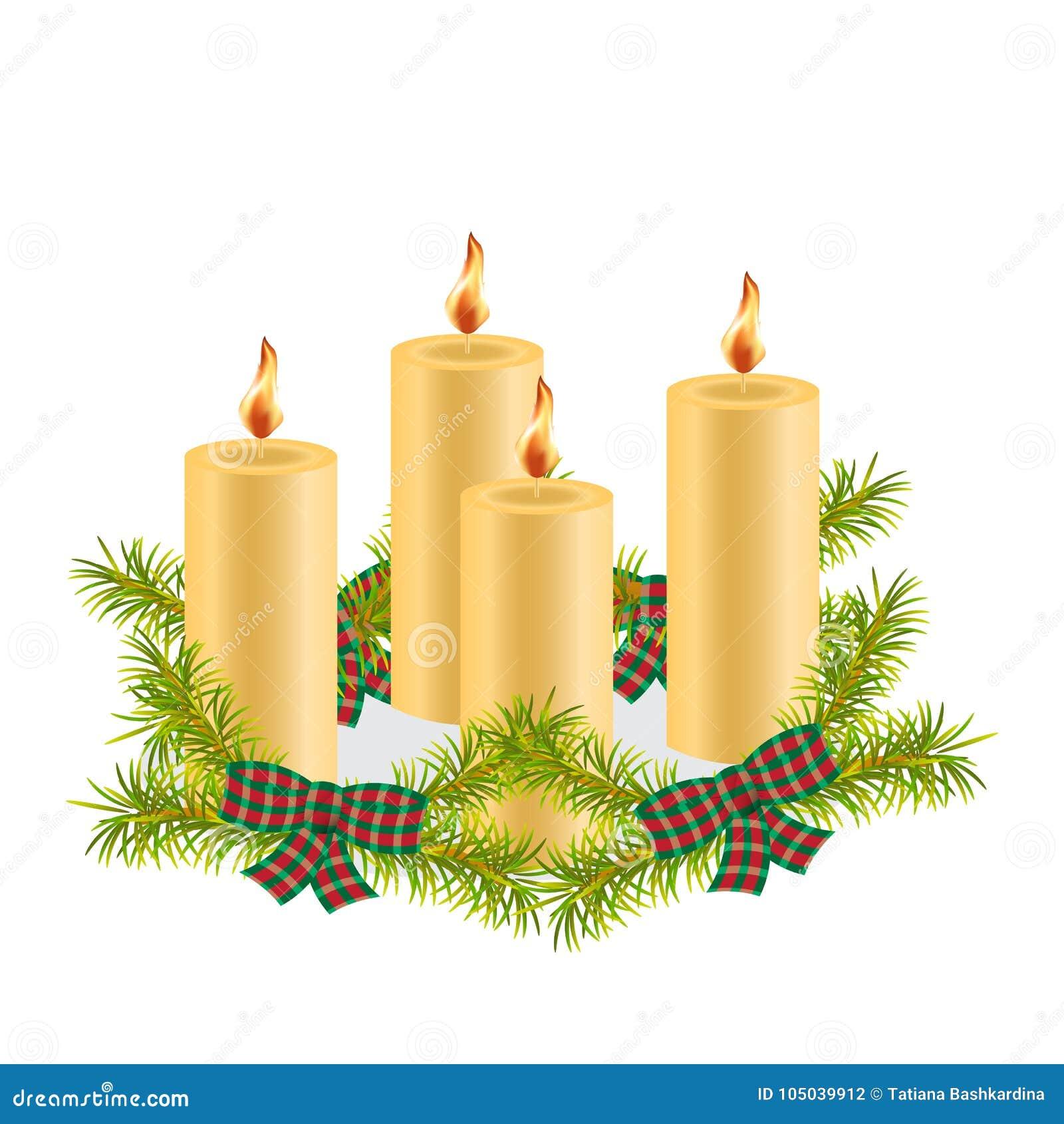 Fyra vaxjulljus bränna som dekoreras med kli för granträd