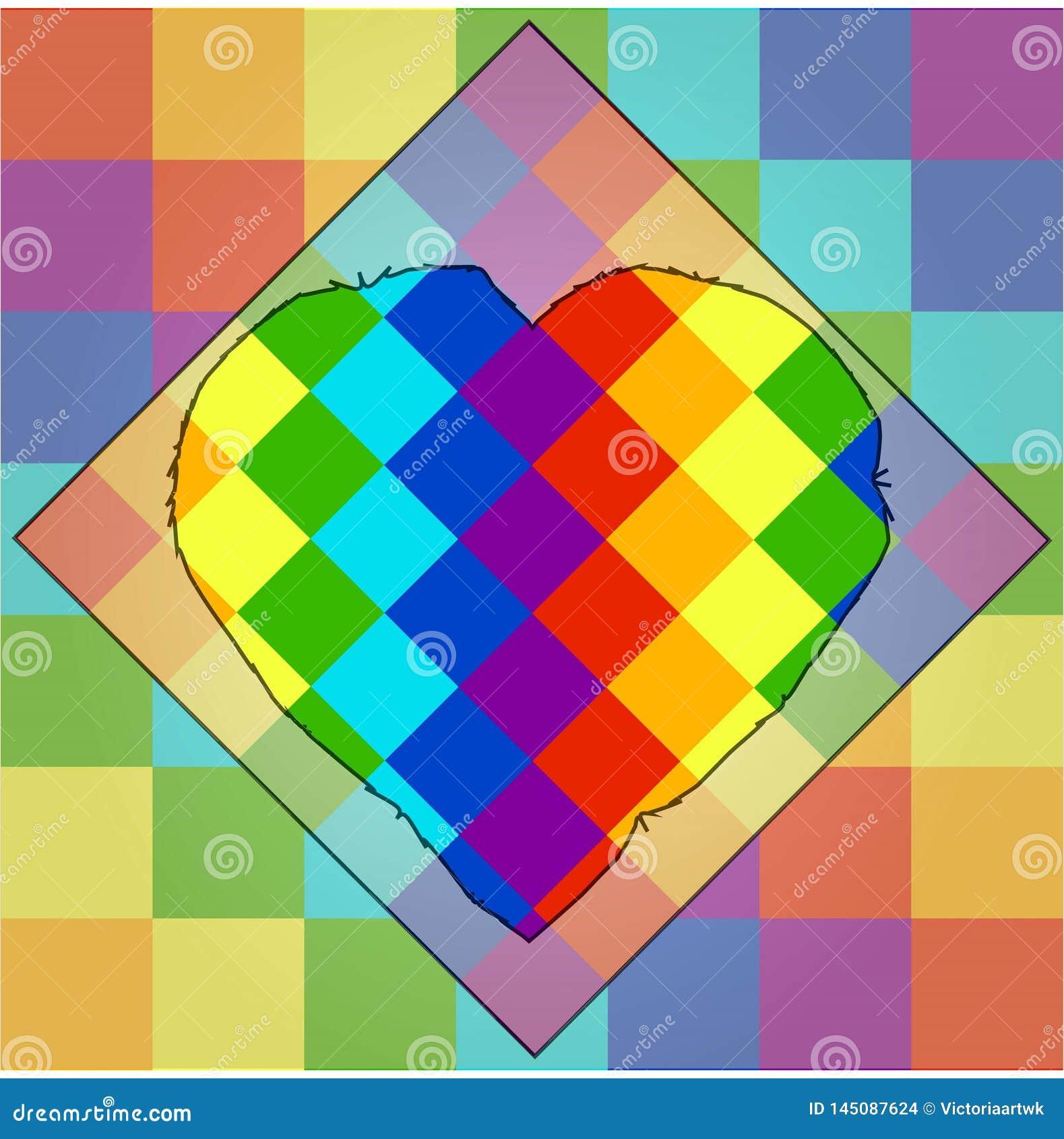 Fyrkanter av färger av en regnbåge med en unik kontur av hjärta i mitt lgbtsymbolism