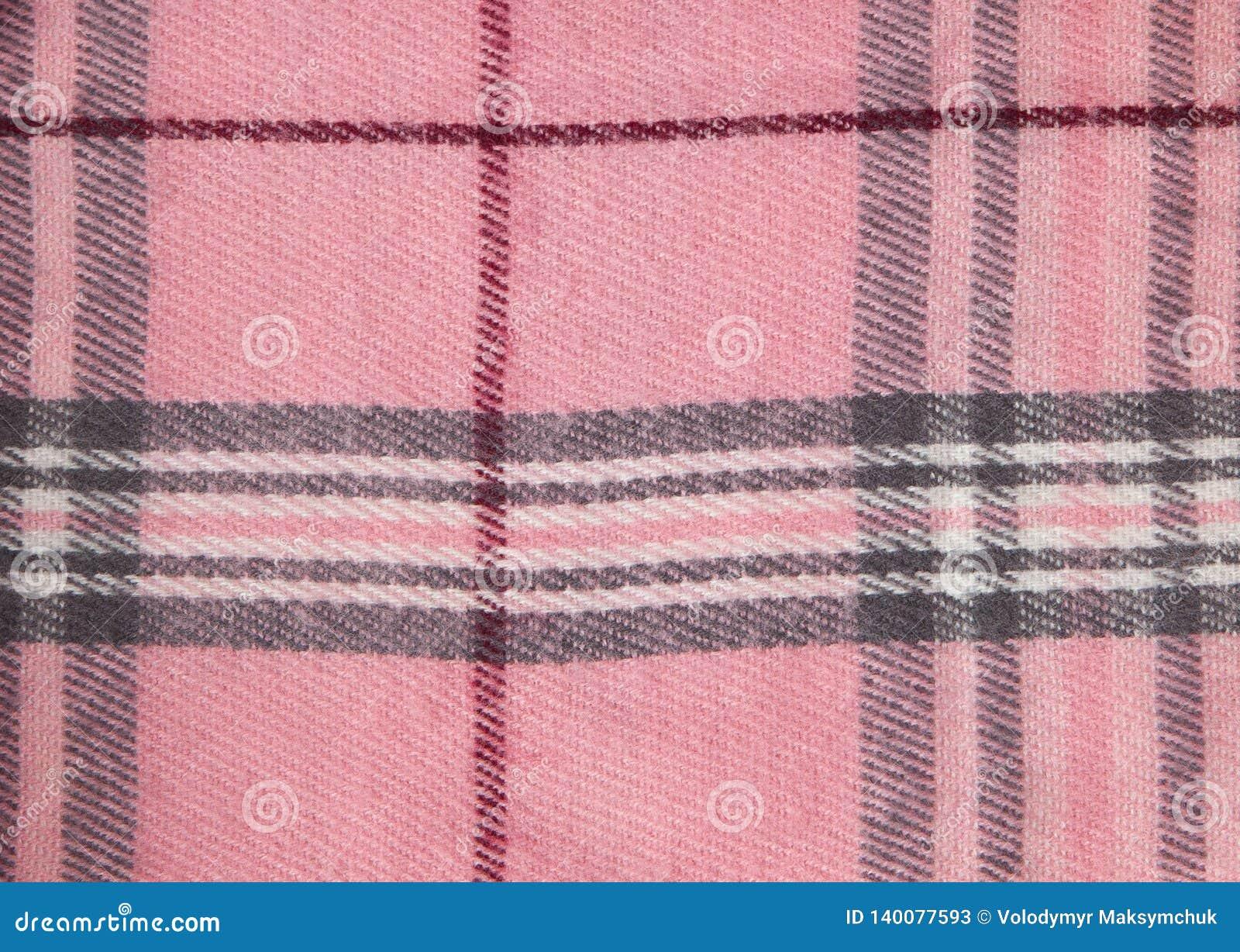 Fyrkantig modelltygbakgrund Texturerar rosa och vitt bomullstyg Modellen för textiler cell Skjortapläd moderiktigt
