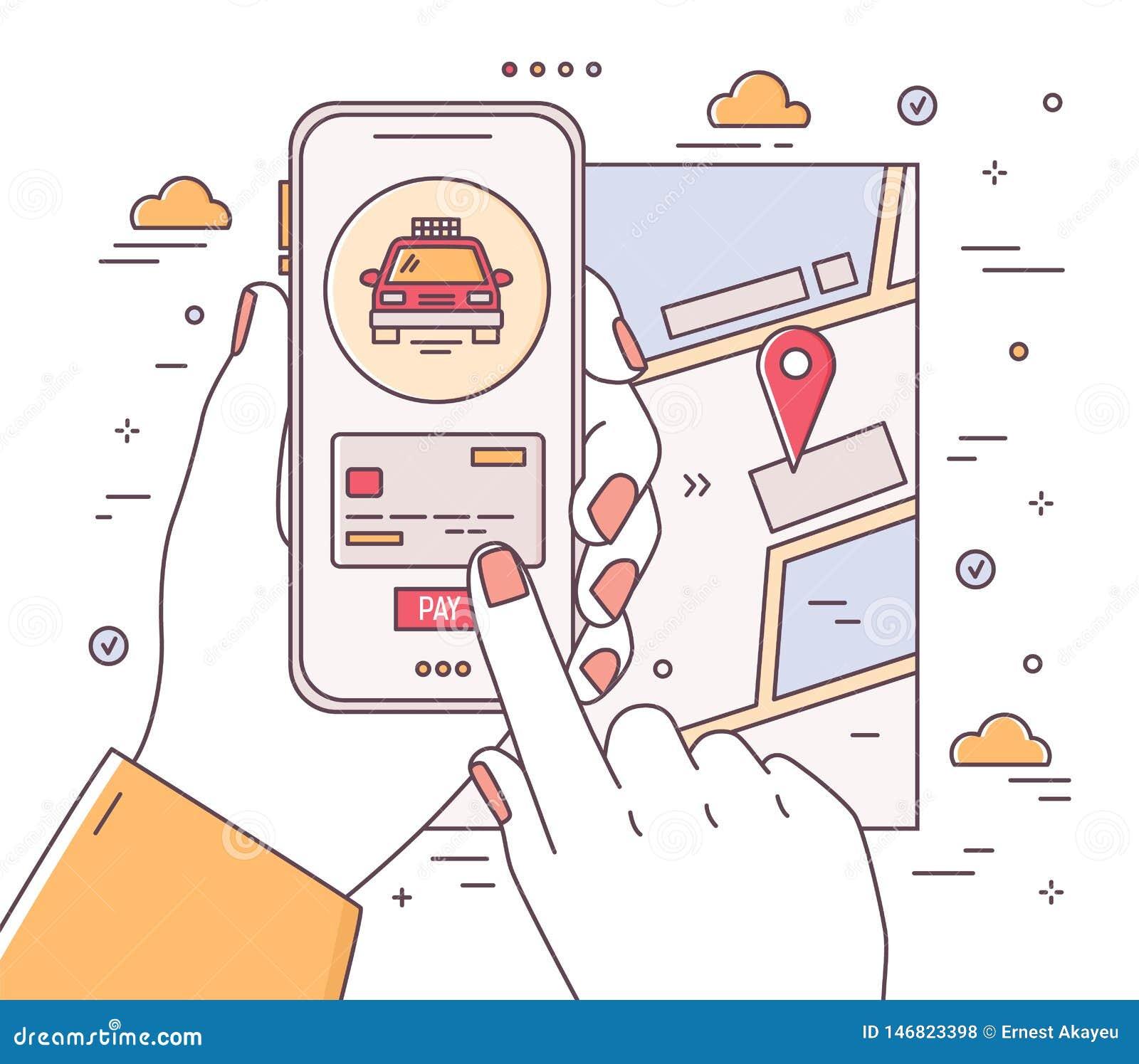 Fyrkantig rengöringsdukbanermall med händer som rymmer telefonen och gör betalning, stadsöversikt med lägefläcken Mobil applikati