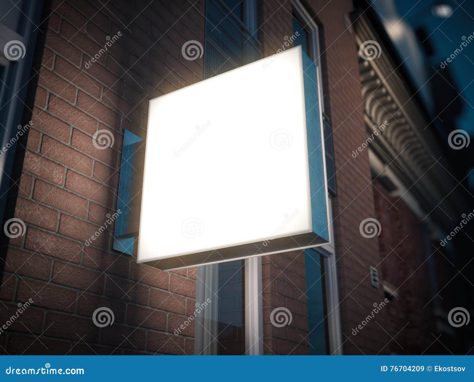Fyrkantig skylt på byggnaden framförande 3d