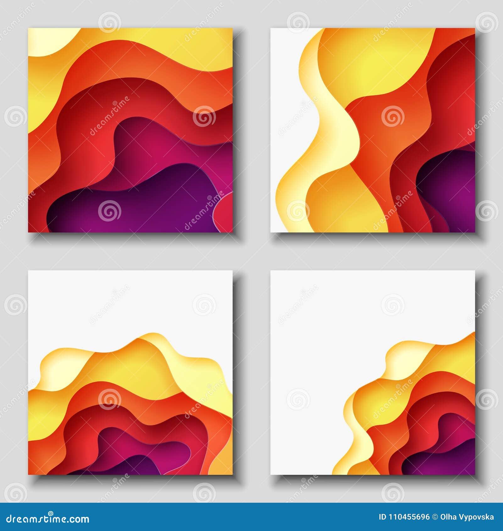 Fyrkantiga reklamblad med bakgrund för abstrakt begrepp 3D med papperssnittet formar Vektordesignorientering