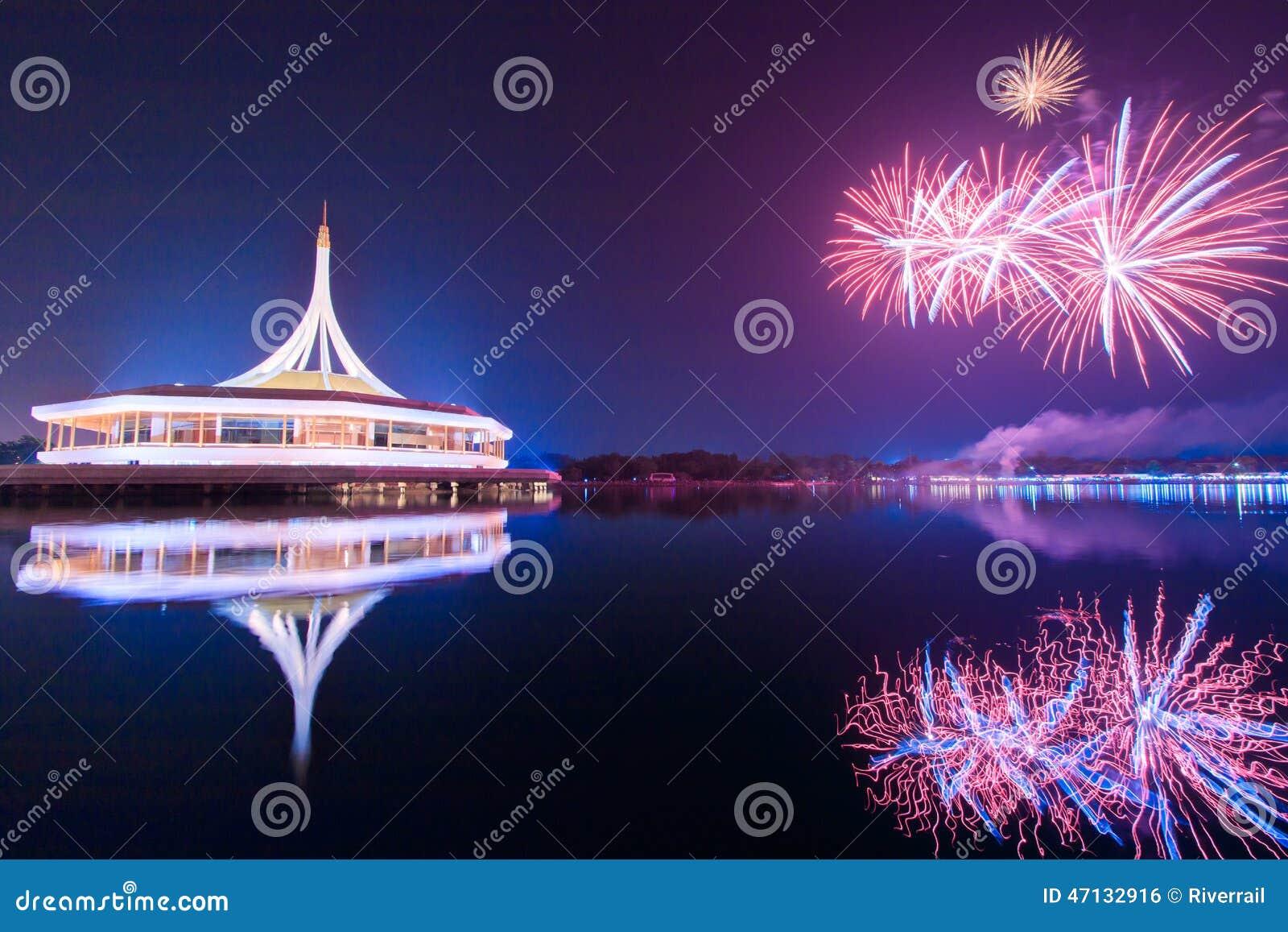 Fyrverkerier på Suan Luang Rama IX, Thailand