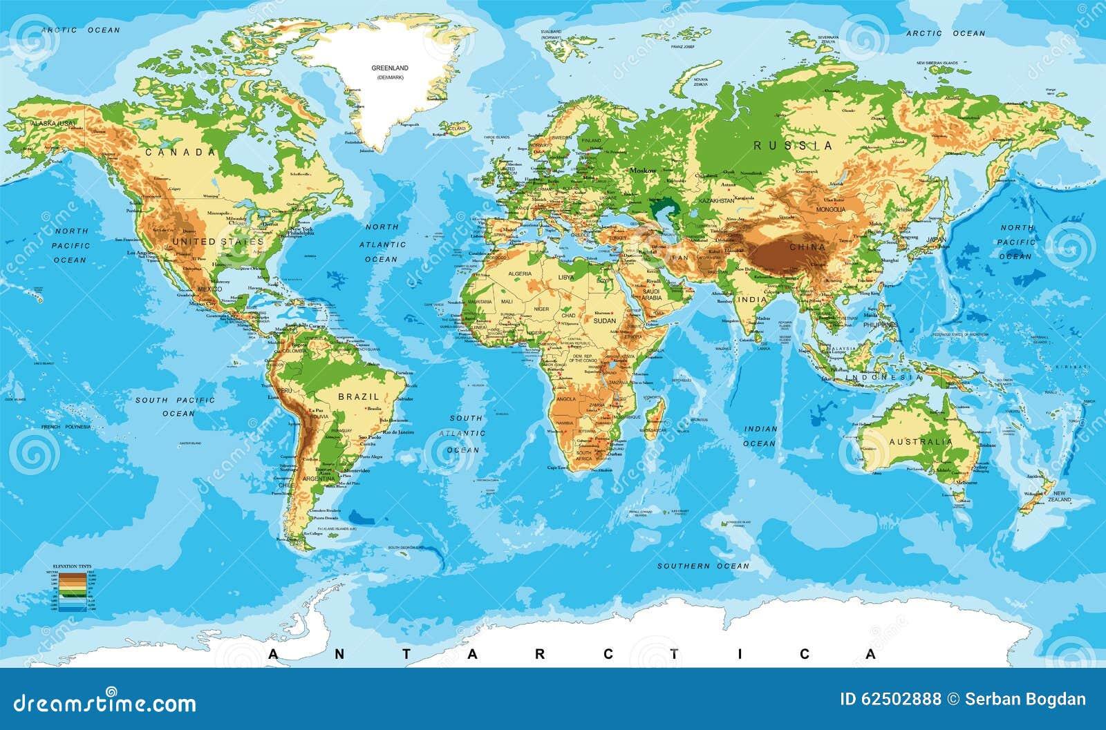 Fysieke kaart van de wereld vector illustratie afbeelding 62502888 - Vloerlamp van de wereld ...