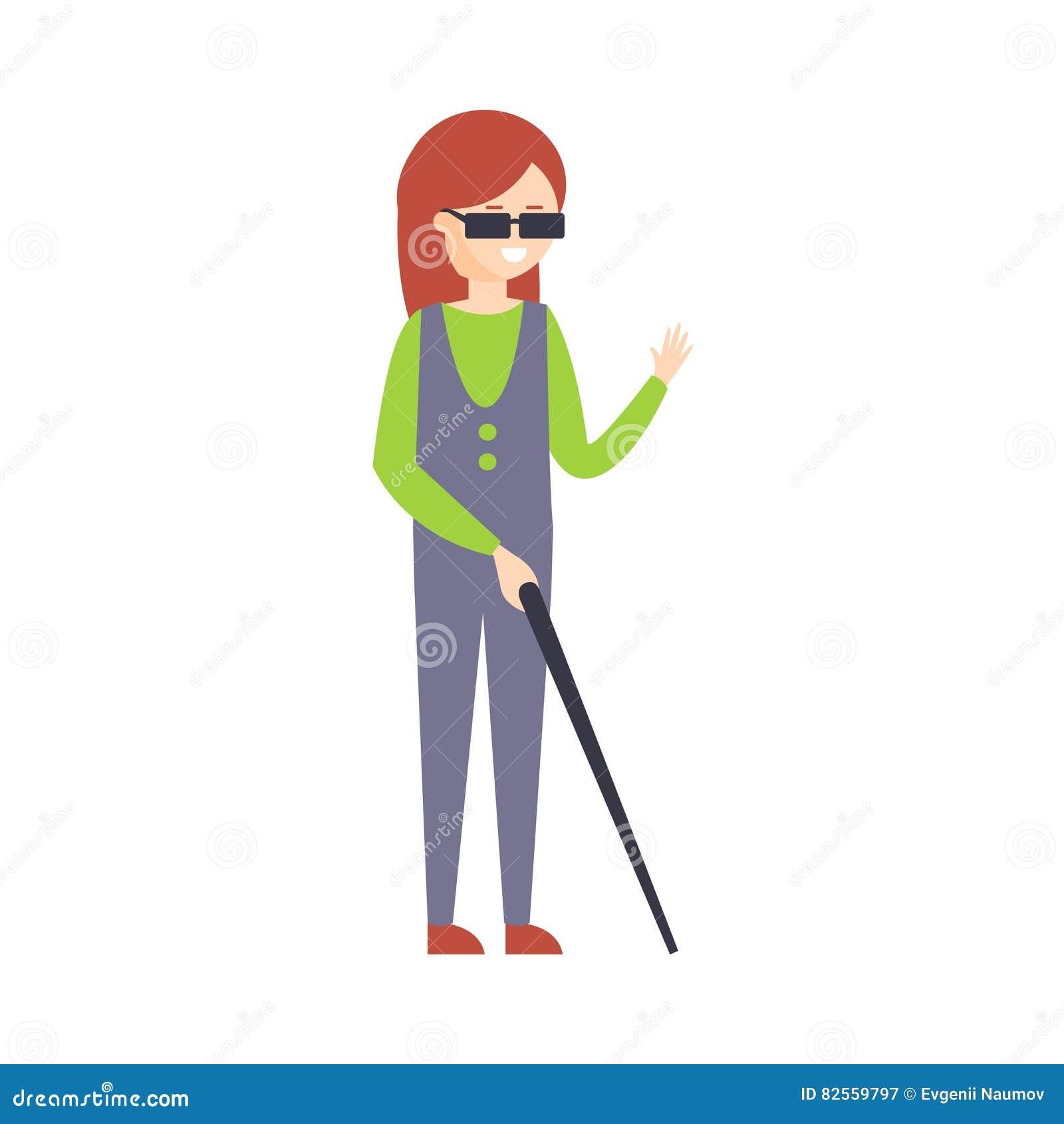 Fysisch Gehandicapt Person Living Full Happy Life met Onbekwaamheidsillustratie met Glimlachende Blnd-Vrouw met Stok