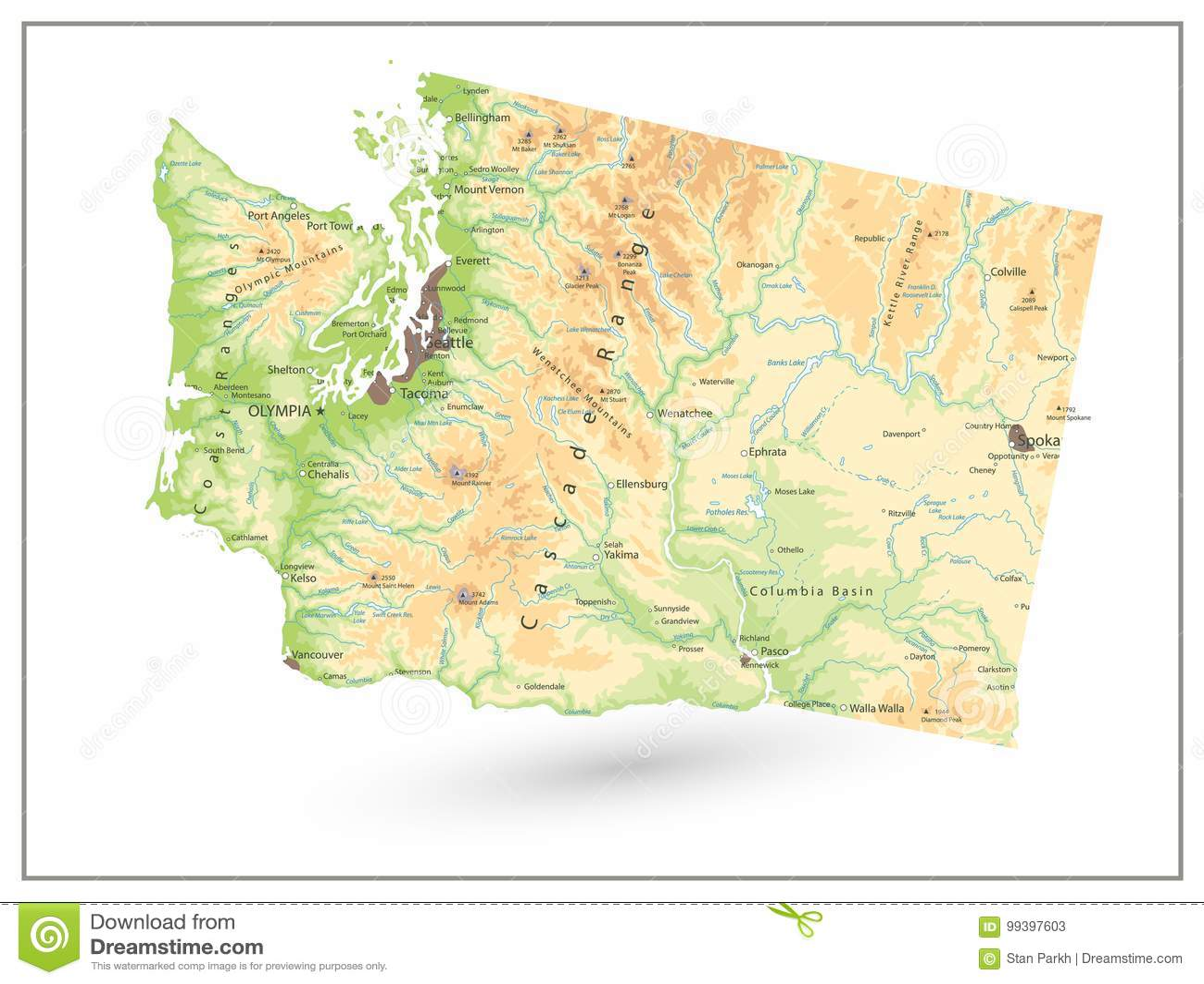 Fysisk översikt av staten Washington som isoleras på vit