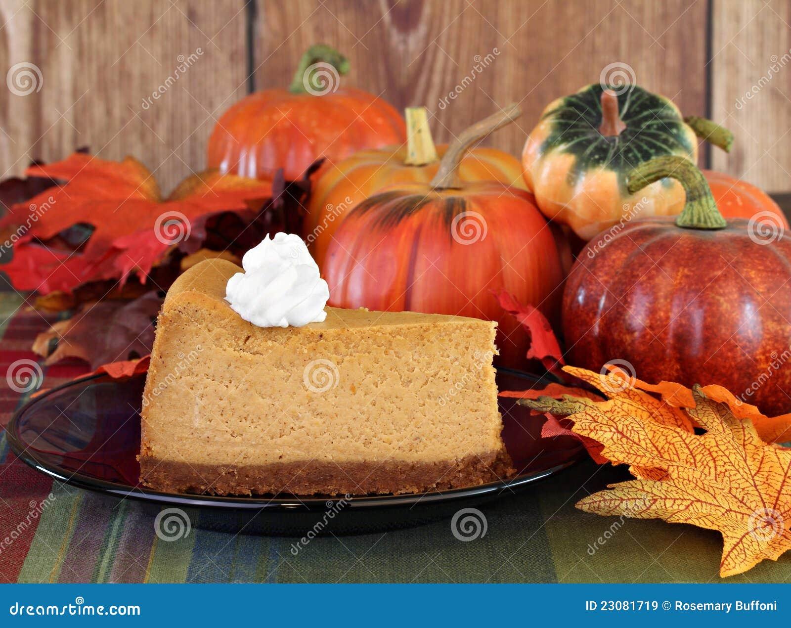 Gâteau au fromage de potiron dans la configuration d automne