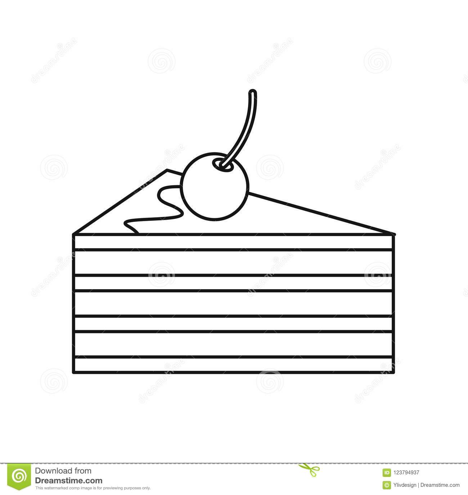 Gâteau avec l icône de cerises, style d ensemble