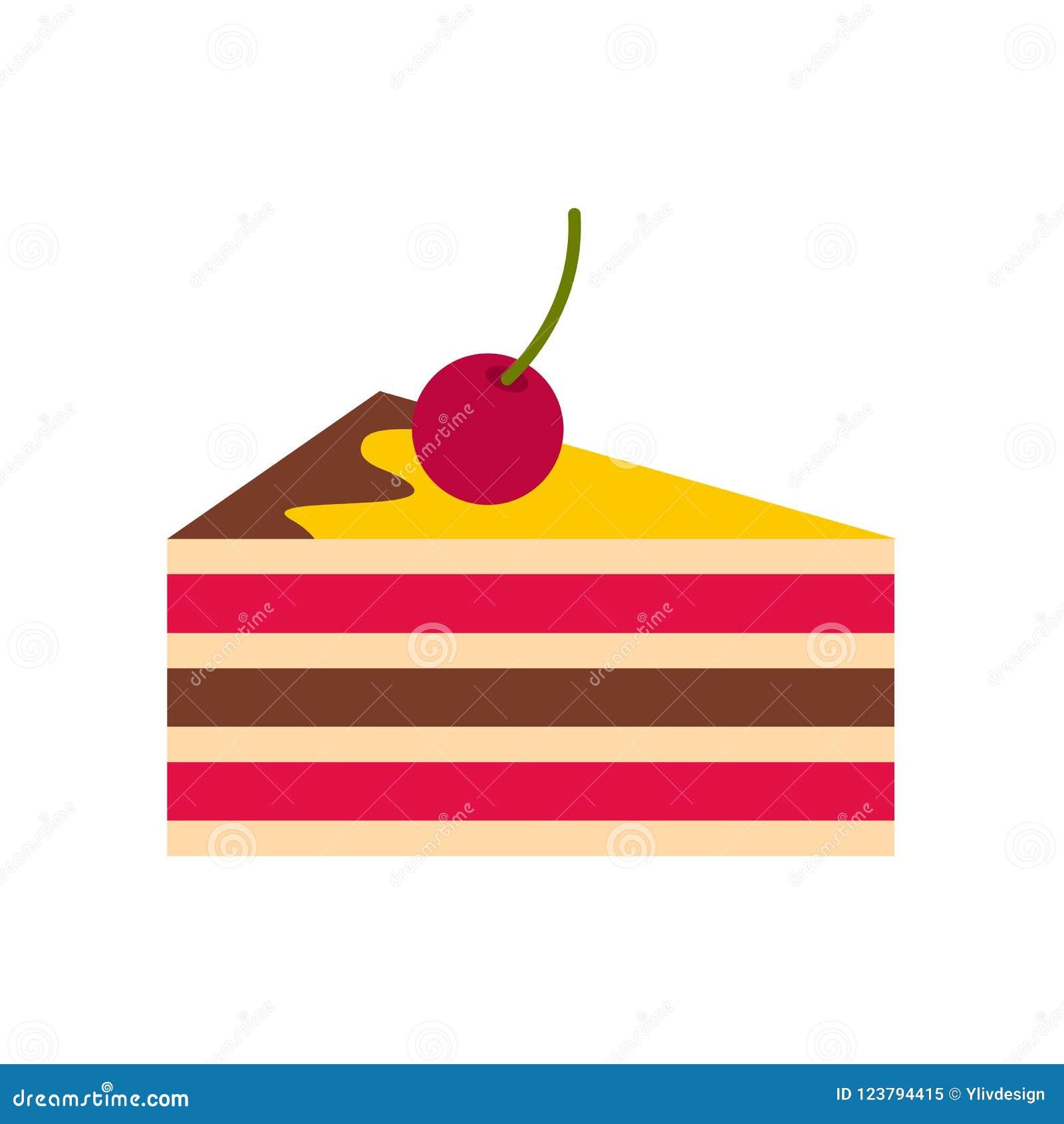 Gâteau avec l icône de cerises, style plat