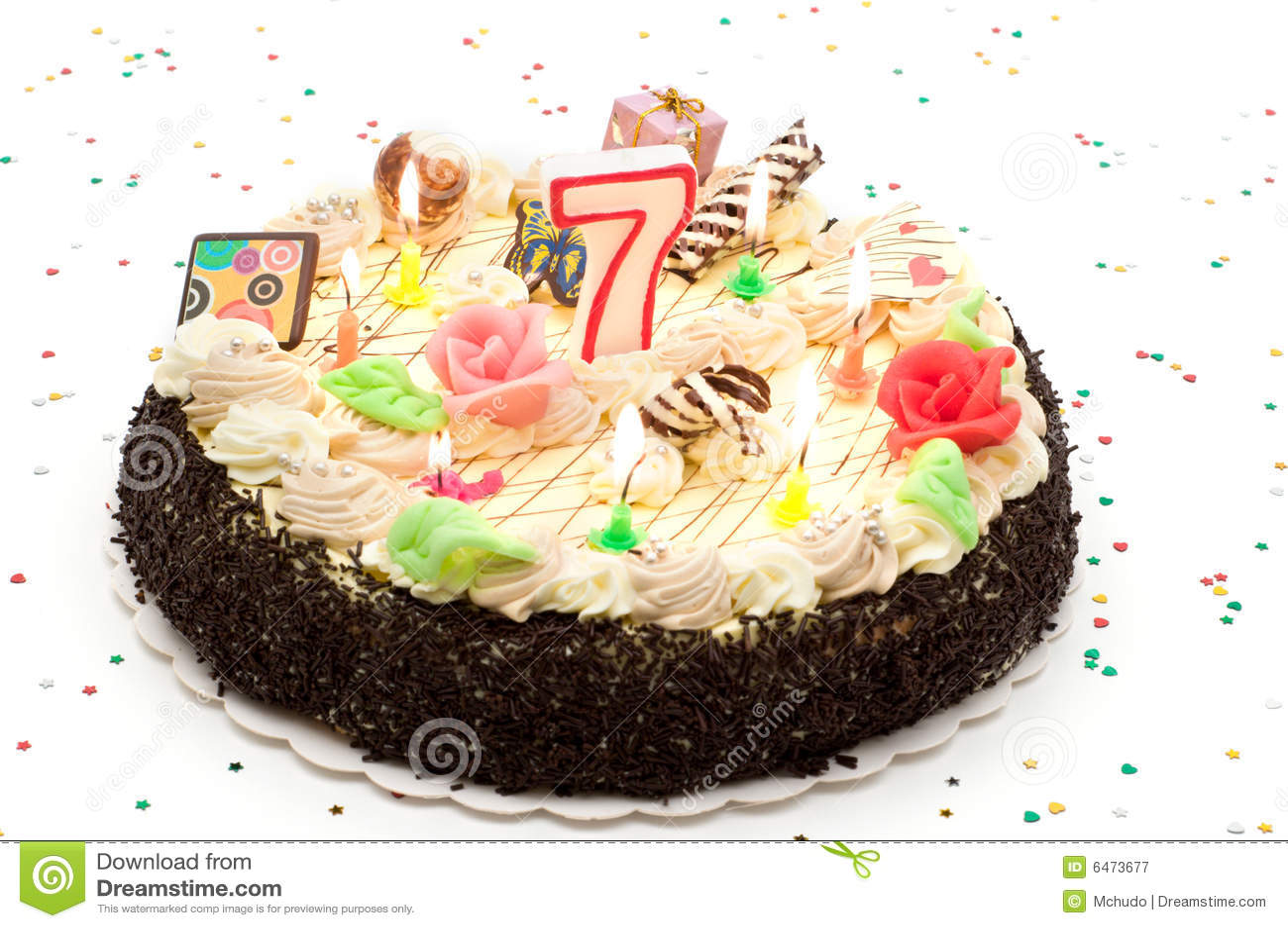 g teau d 39 anniversaire 7 ans image stock image du d licieux dessert 6473677. Black Bedroom Furniture Sets. Home Design Ideas
