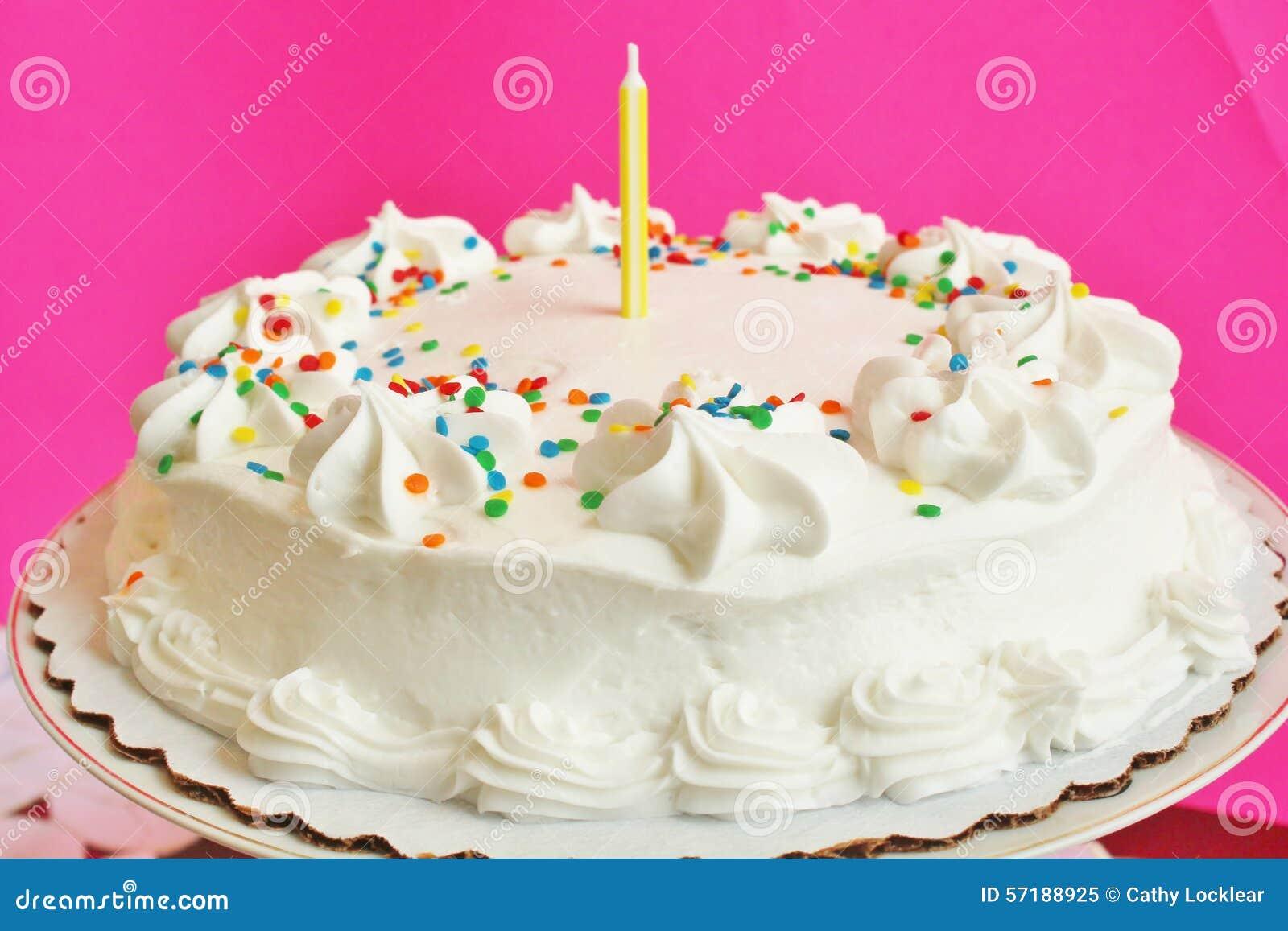Gâteau D Anniversaire Avec 1 Bougie Image Stock Image Du
