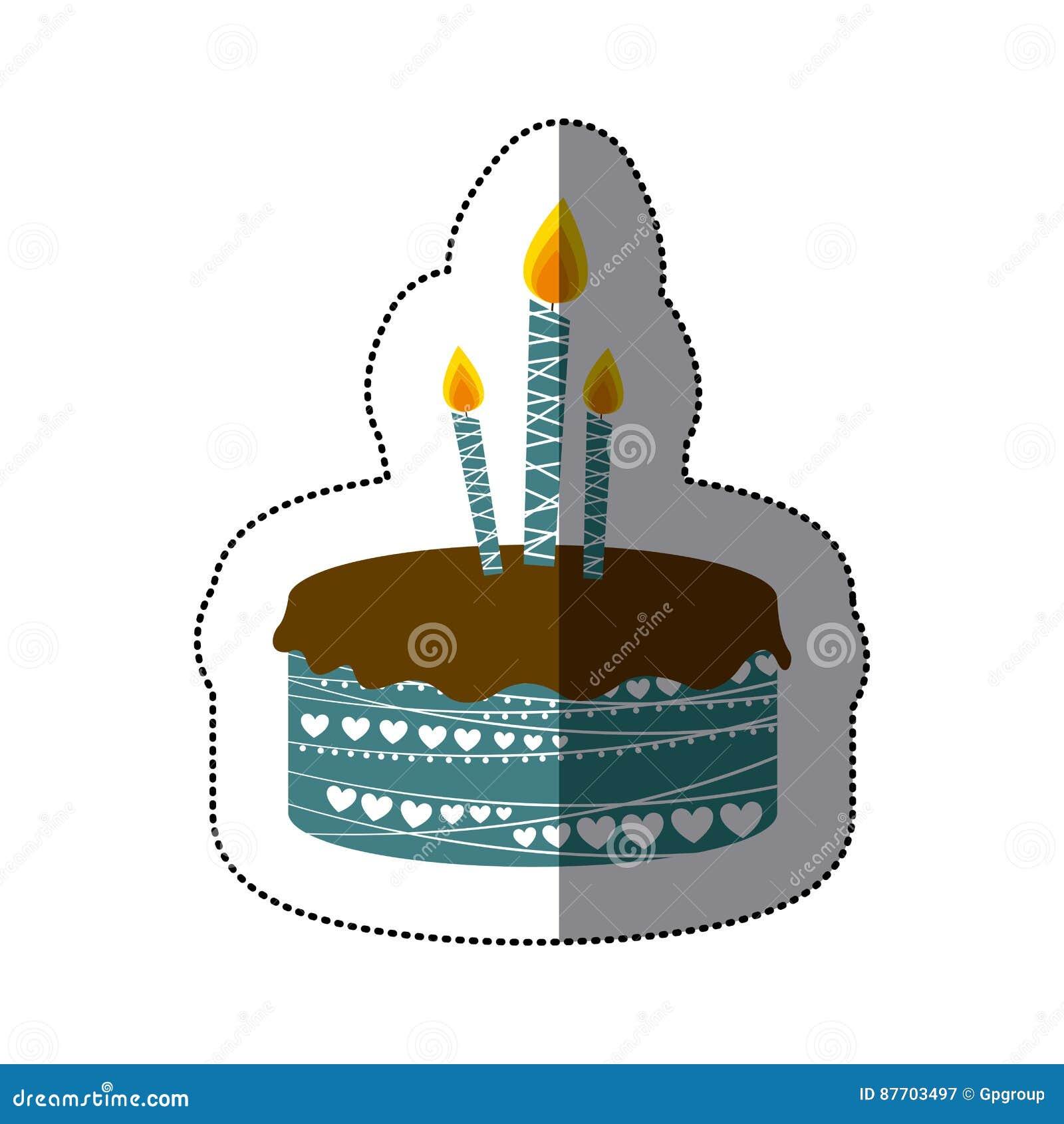 Gâteau d anniversaire coloré de photo d autocollant avec des bougies