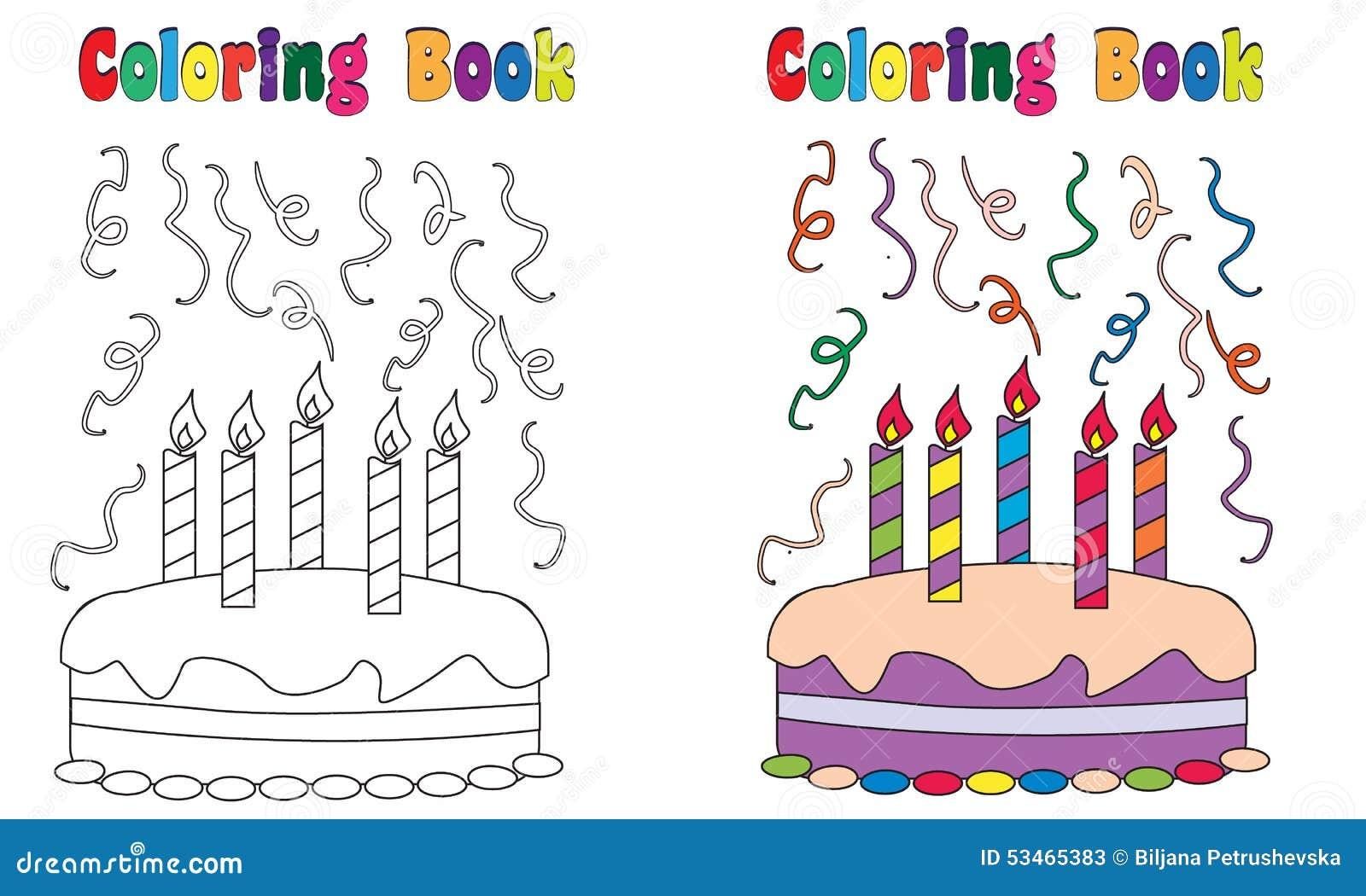 Gâteau D Anniversaire De Livre De Coloriage Illustration De