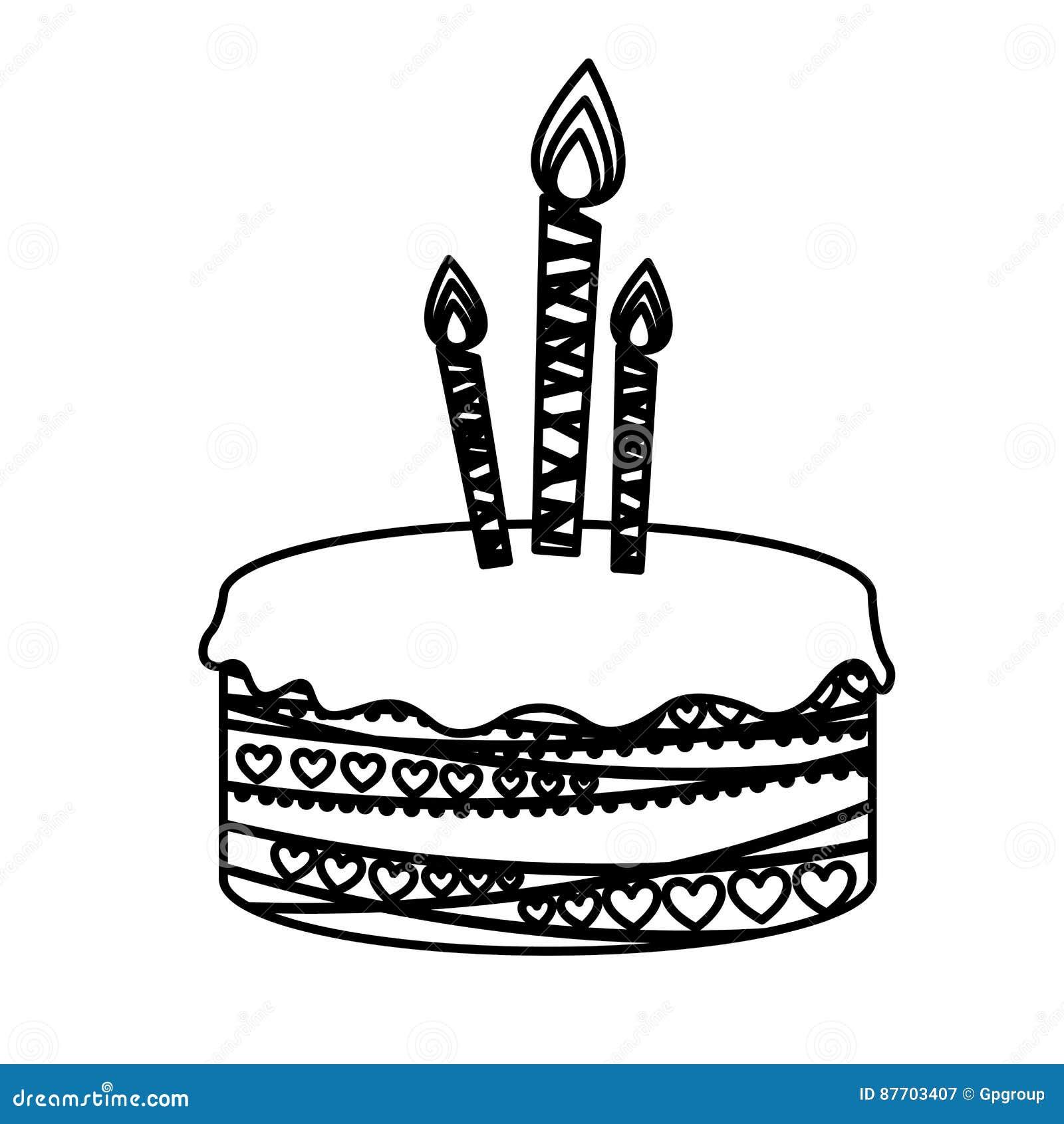 Gâteau d anniversaire de photo de silhouette avec des bougies