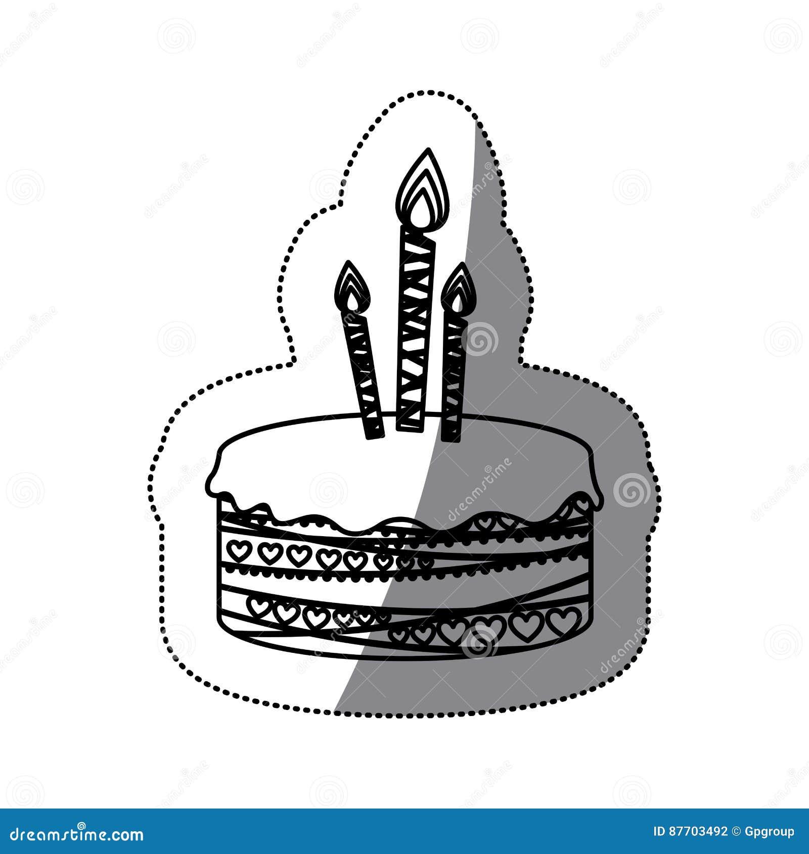 Gâteau d anniversaire de photo de silhouette d autocollant avec des bougies