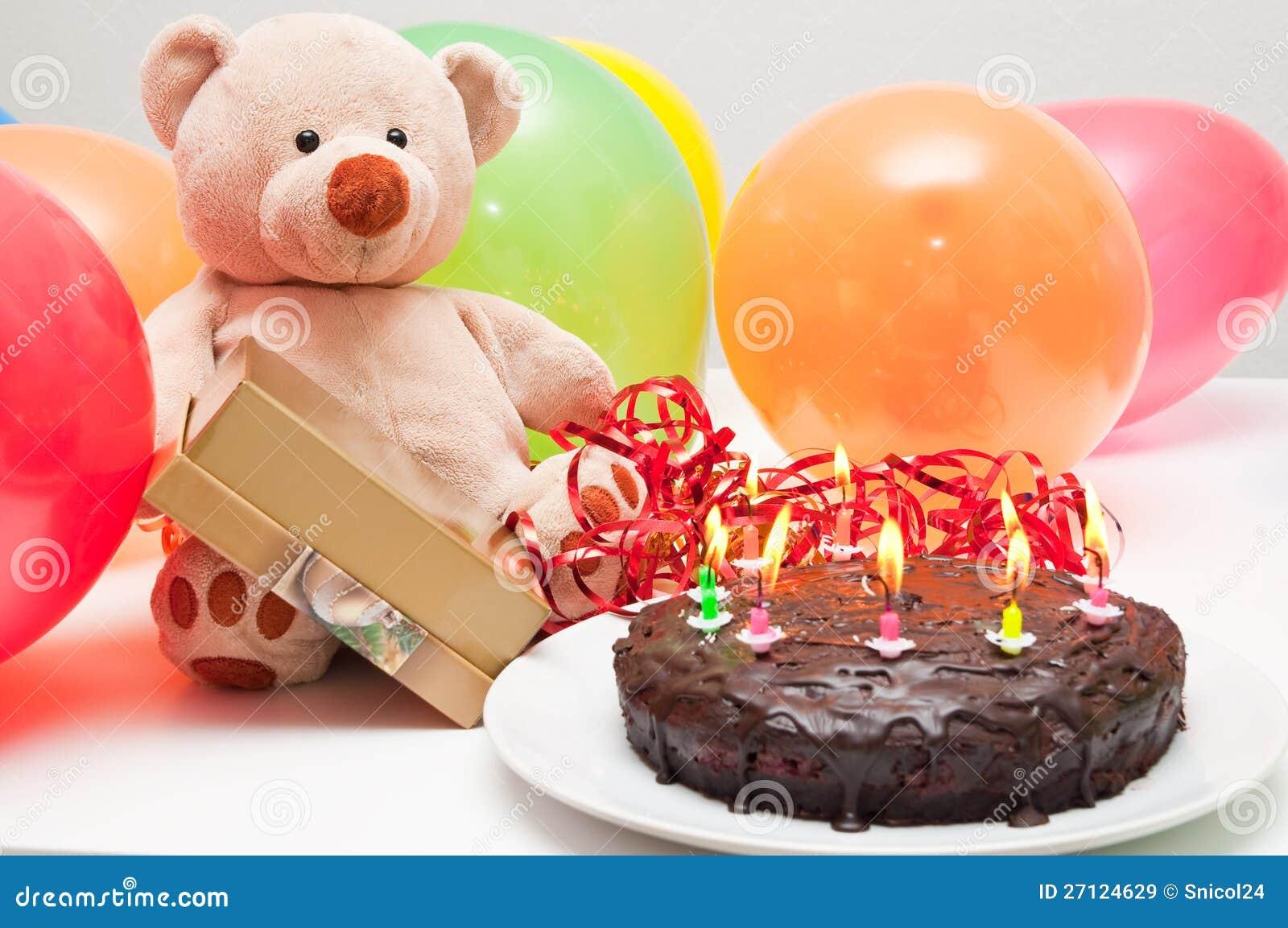Gâteau d anniversaire et ours de nounours