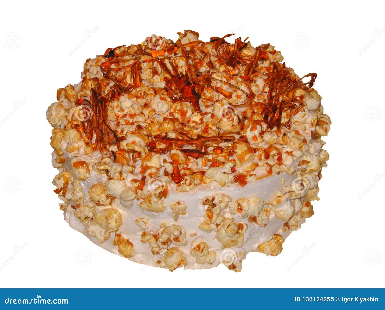 Gâteau de caramel avec de la sauce à caramel et le maïs éclaté de caramel