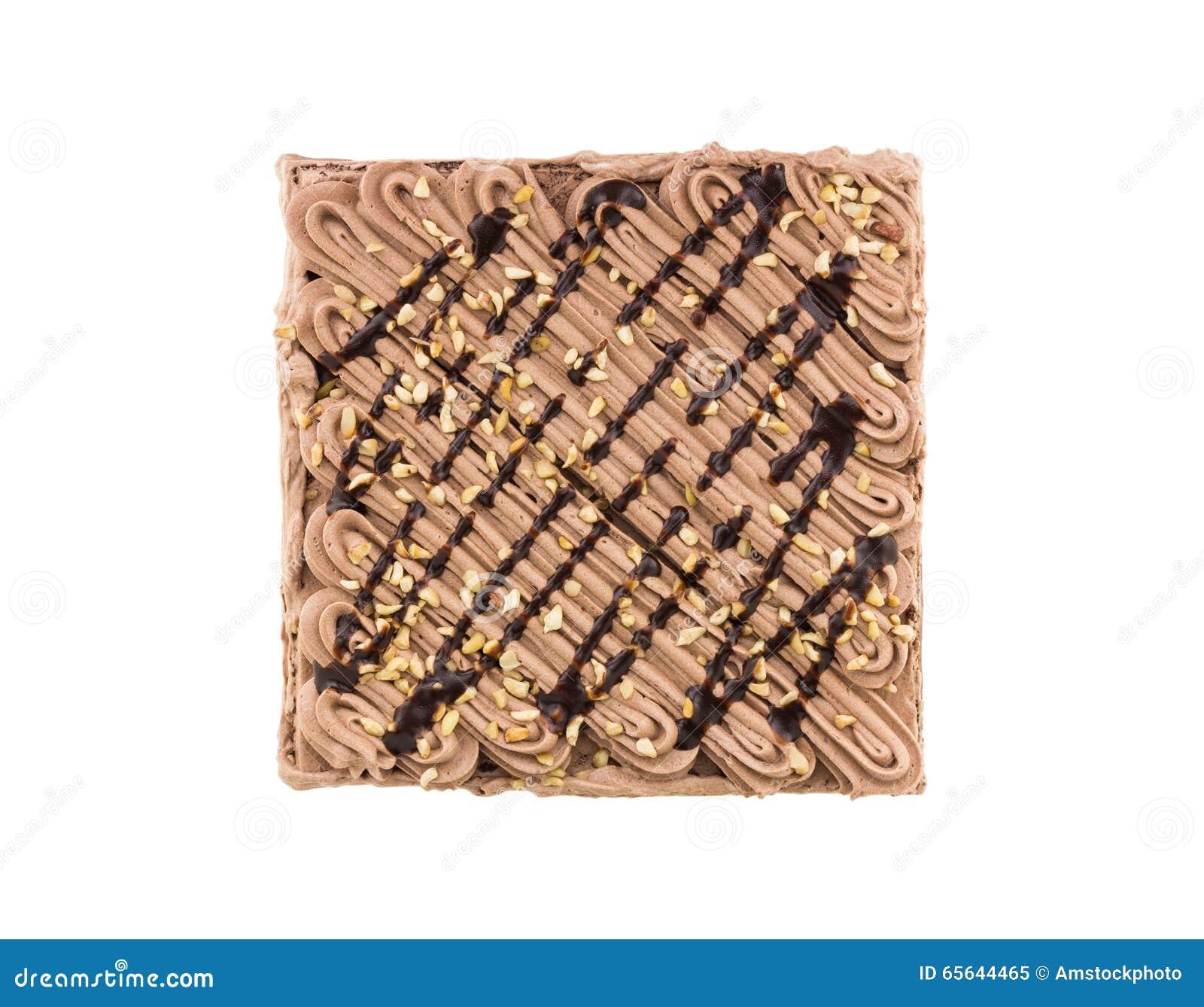 Gâteau de chocolat de vue supérieure d isolement sur le fond blanc