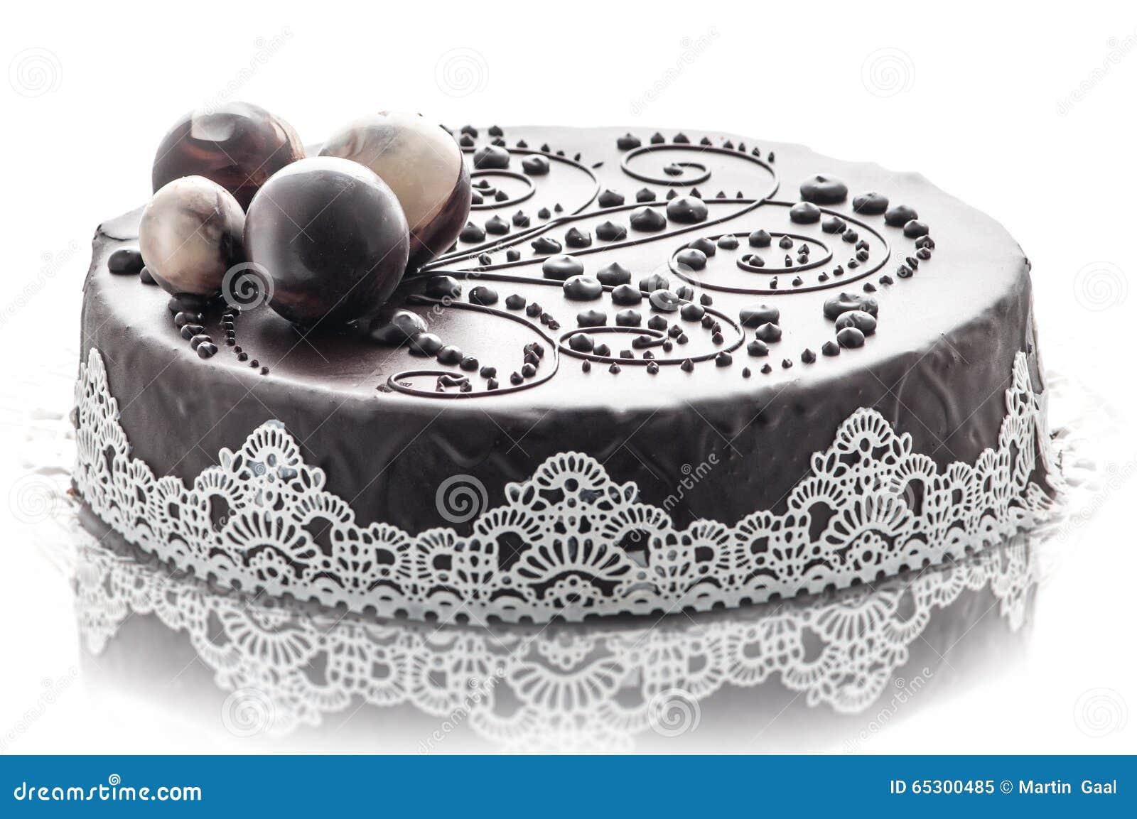 Download Gâteau De Chocolat Exclusif Avec La Décoration De Dentelle Et De  Chocolat, Pâtisserie,