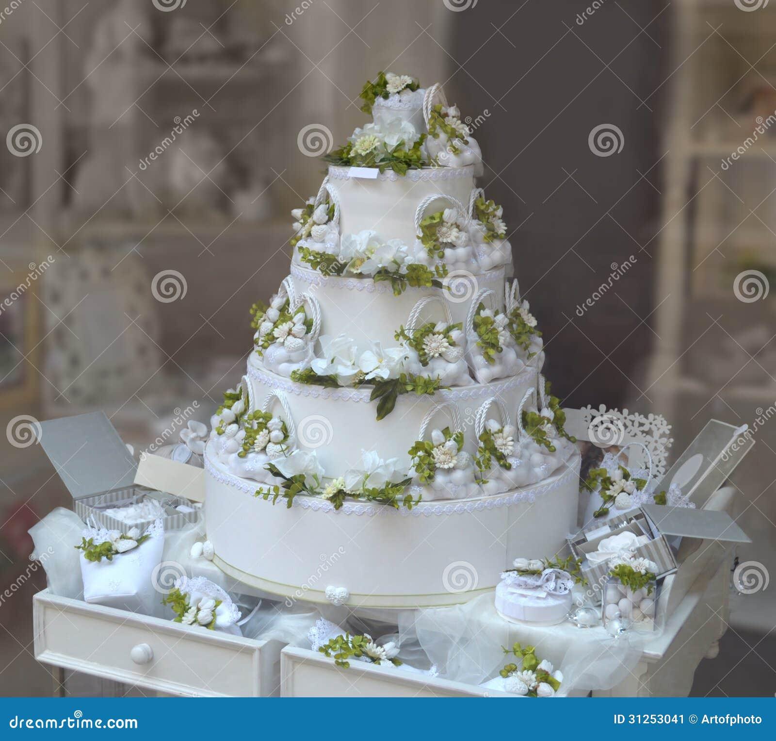 Gâteau De Mariage Blanc Et Vert Image Stock Image Du