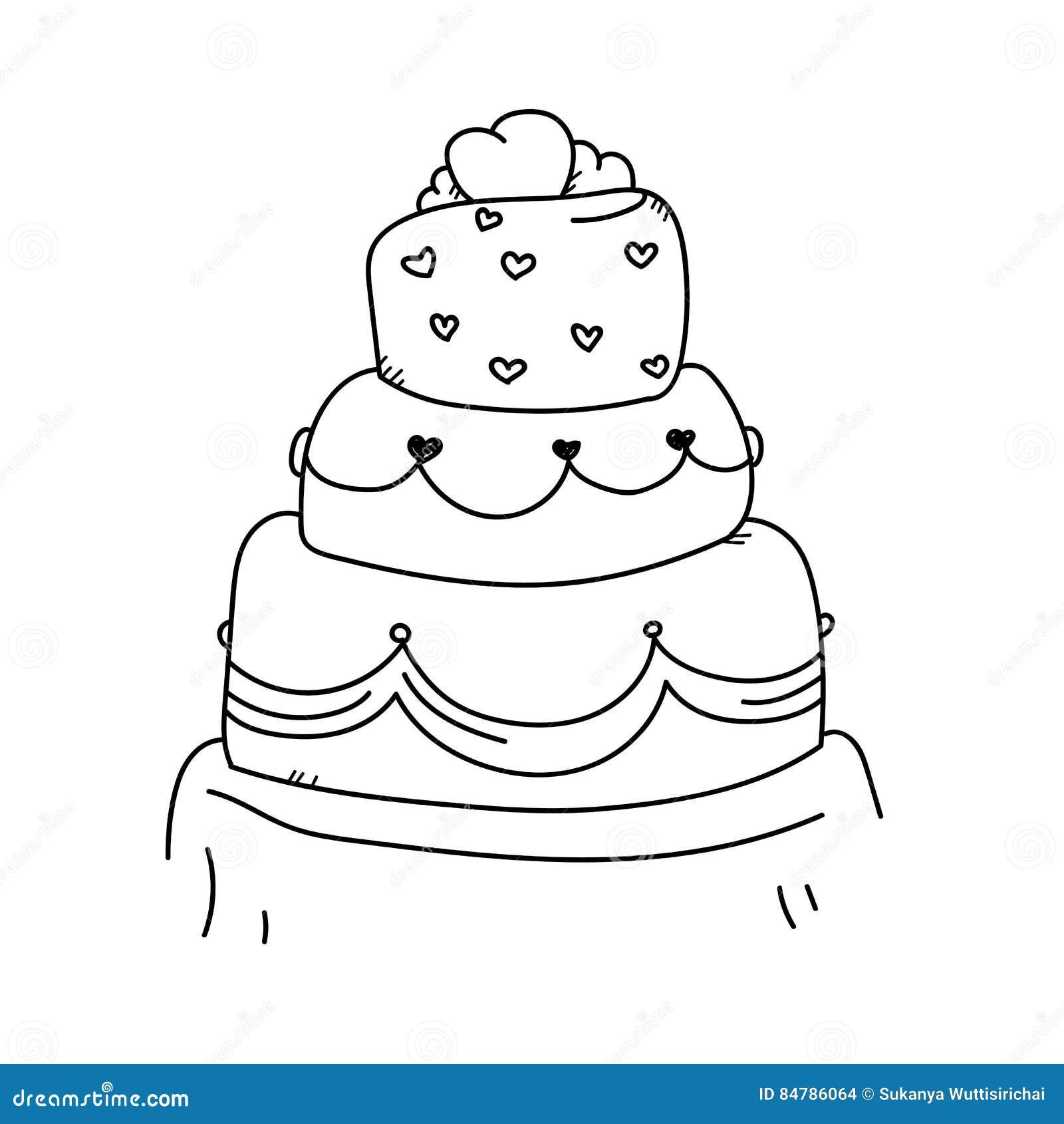Gâteau De Mariage Dillustration De Dessin De Dessin à Main
