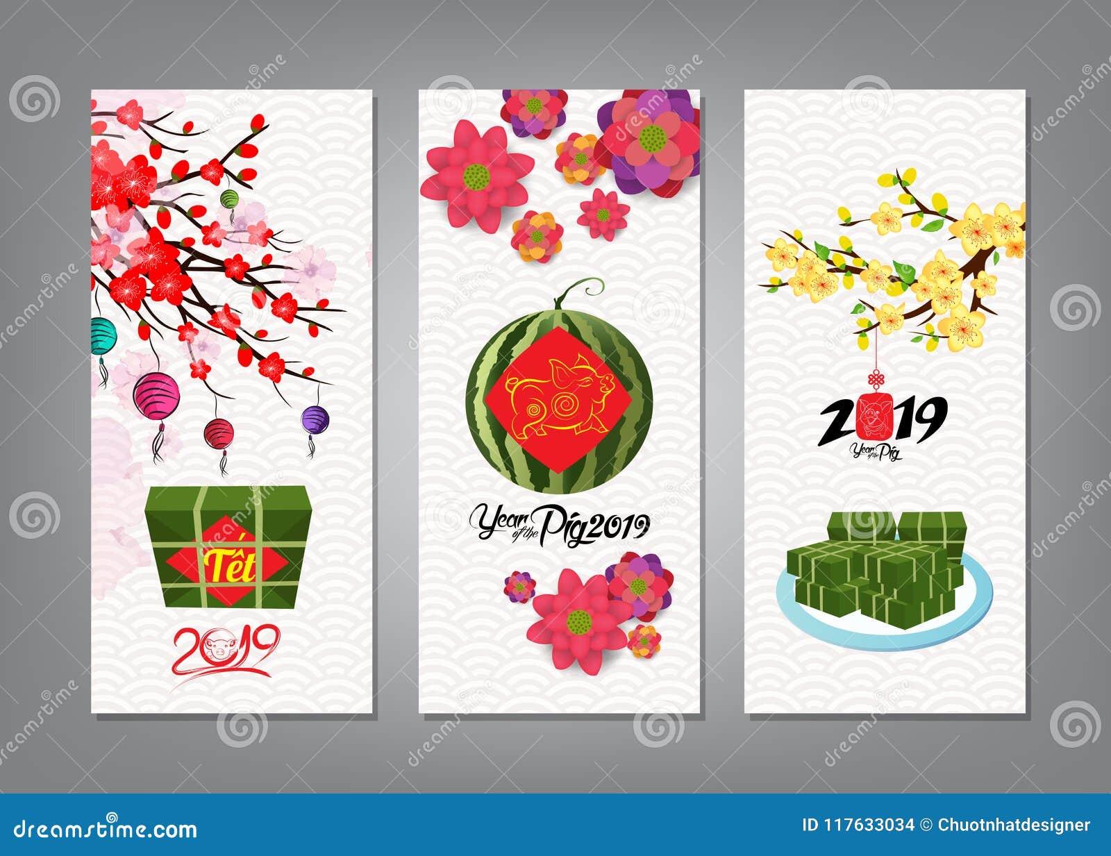 Gâteau de riz et fleur visqueux carrés cuits, bannière An neuf vietnamien Année lunaire du _ t de ½ de ¿ de Tï de traduction nouv