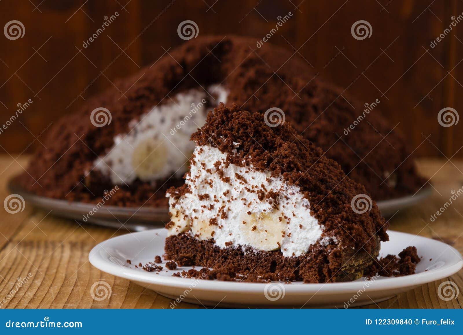 Gâteau lisse de tarte avec la banane