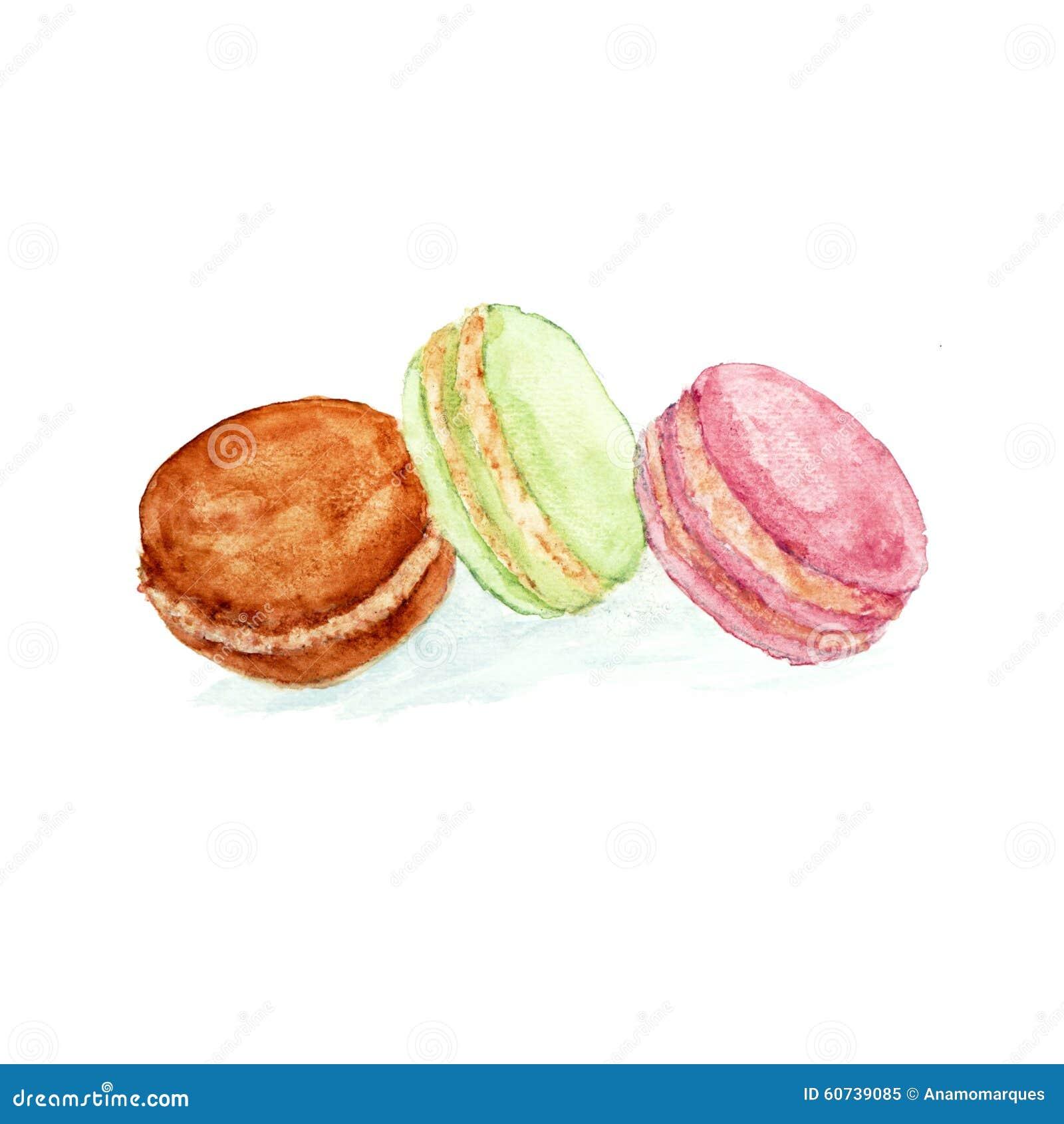 Gâteaux de macaron réglés watercolour