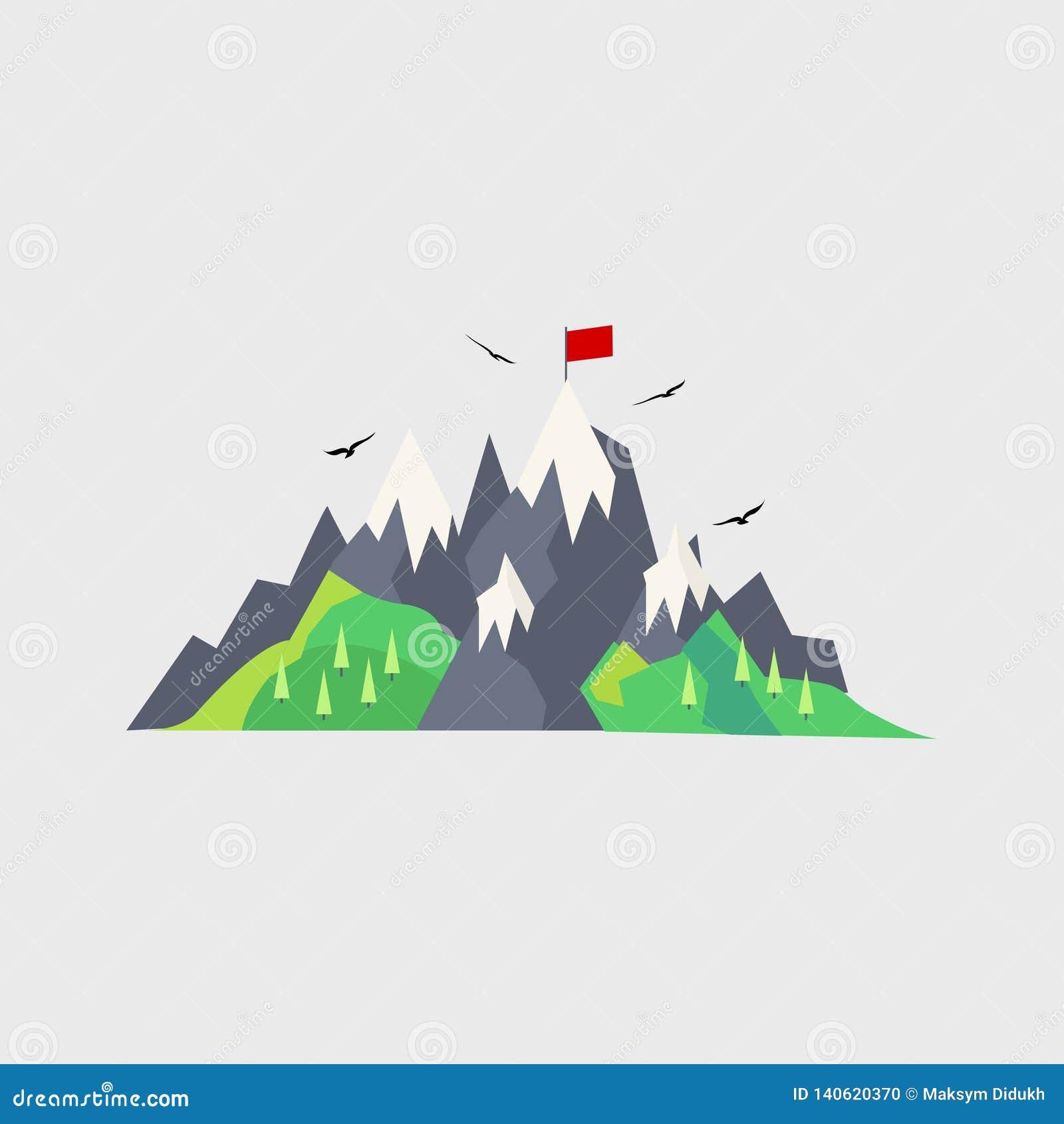 Góra, flaga Podróż również zwrócić corel ilustracji wektora 10 eps