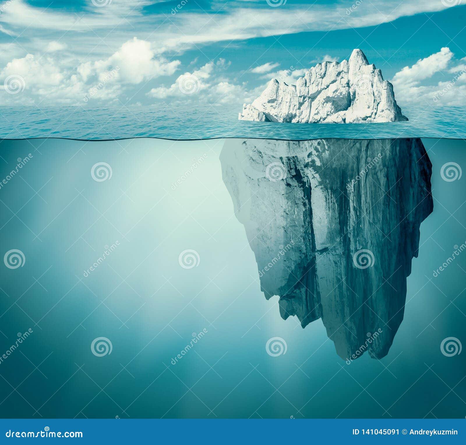 Góra lodowa w oceanie lub morzu Chowany zagrożenie lub niebezpieczeństwa pojęcie ilustracja 3 d