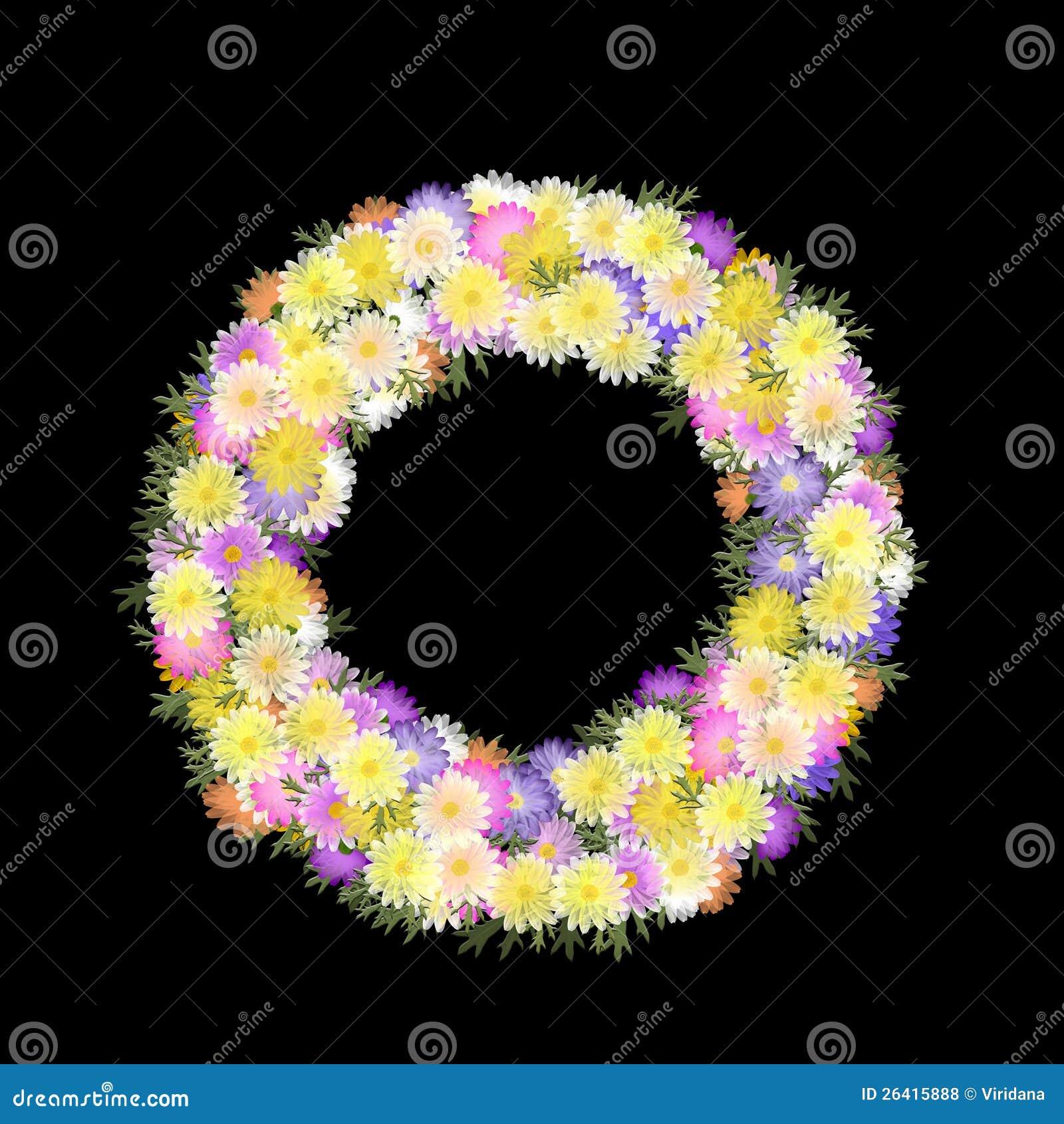 Gänseblümchen und Blumenblatt mehrfarbiger folkart Wreath