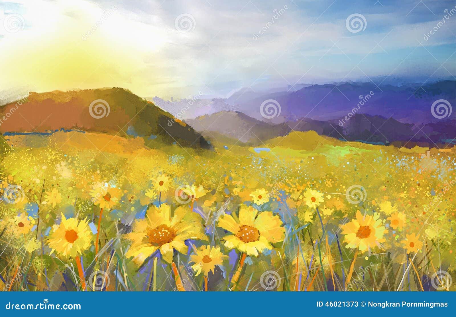 Gänseblümchenblumenblüte Ölgemälde einer ländlichen Sonnenunterganglandschaft mit einem goldenen Gänseblümchenfeld